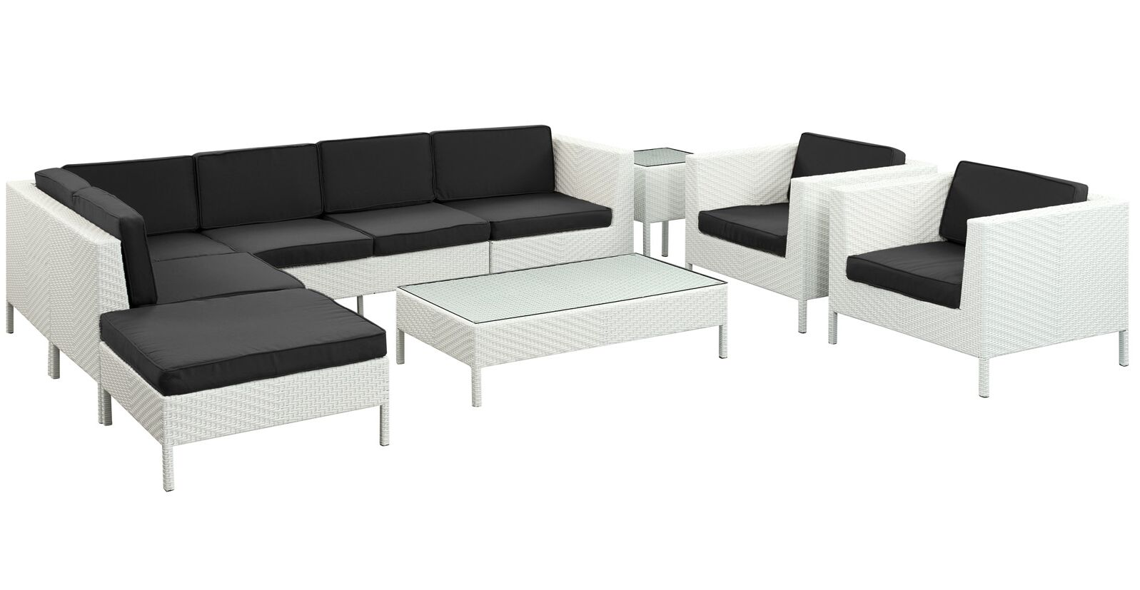 Alrai 9 Piece Rattan Sectional Set with Cushions Fabric: Black, Color: White