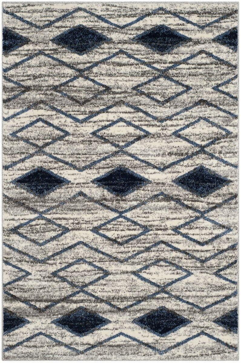 Electra Beige/Blue Area Rug Rug Size: Rectangle 5'1