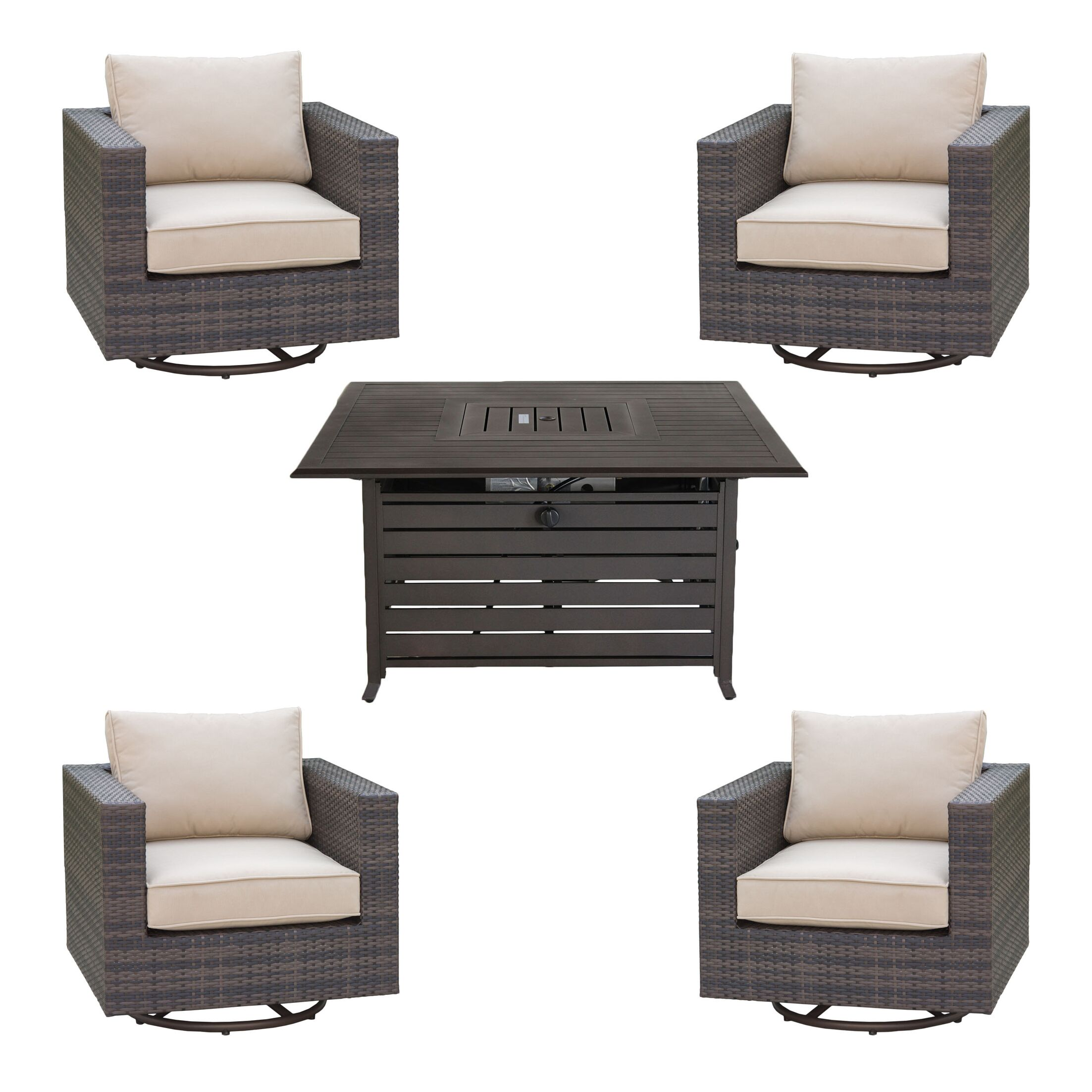 Lara 5 Piece Sectional Set with Cushions Fire Pit Color: Mahogany