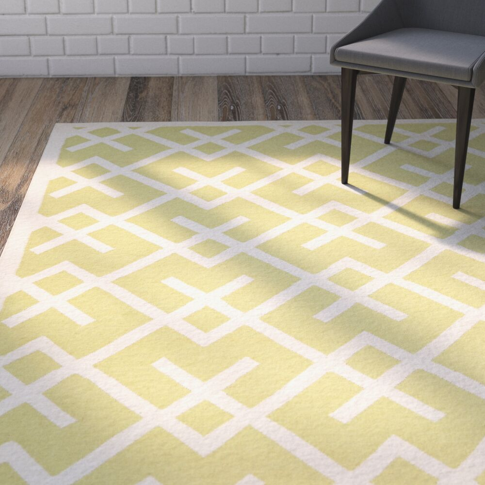 Crawford Hand-Woven Light Green/Ivory Area Rug Rug Size: Rectangle 8' x 10'