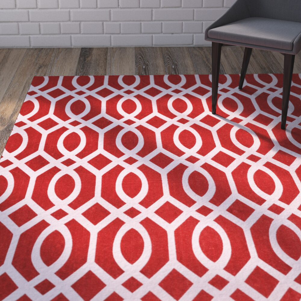 Nolan Hand-Loomed Coral/Ivory Area Rug Rug Size: Rectangle 6' x 9'