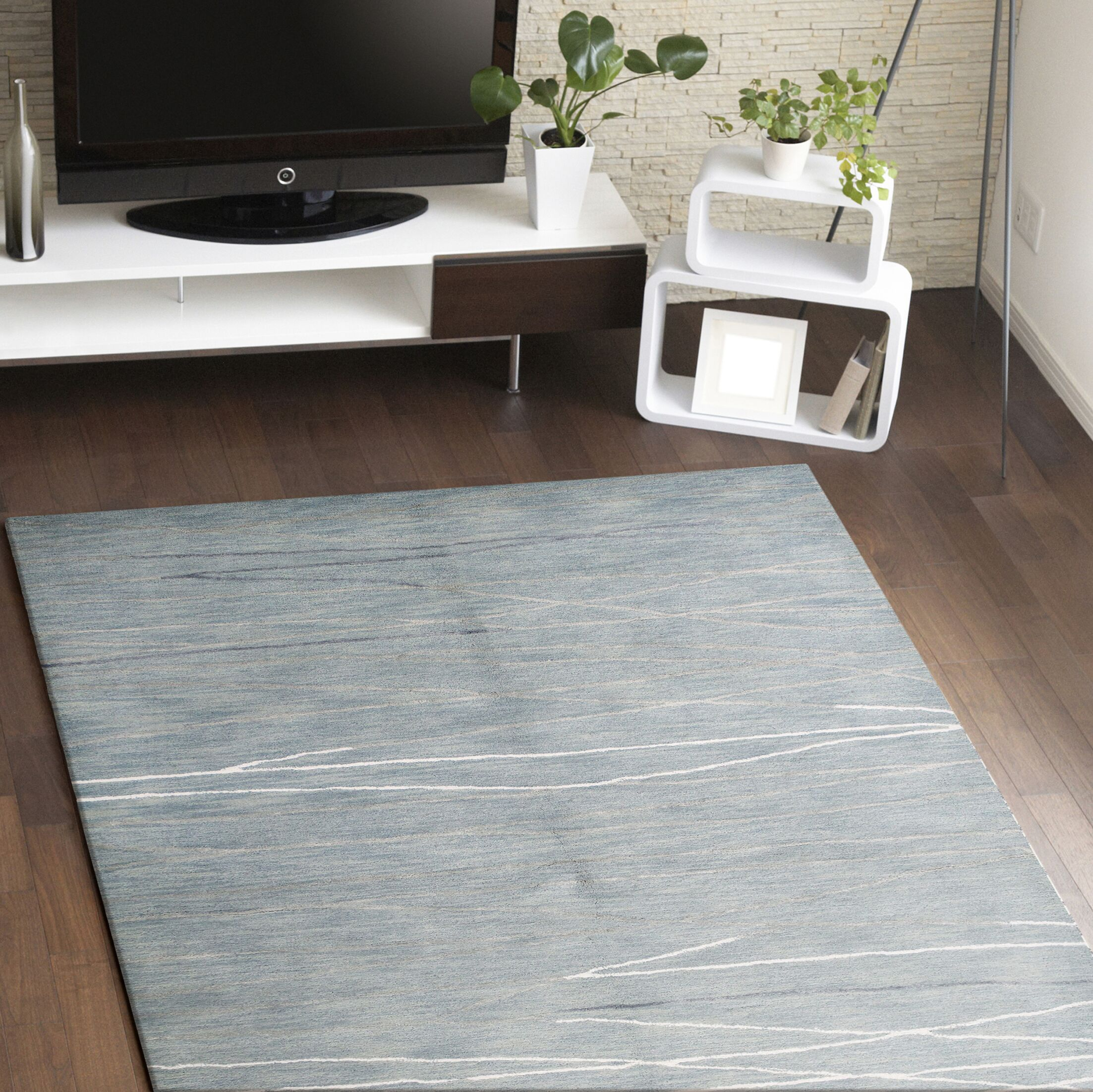 Luczak Hand-Tufted Light Blue Area Rug Rug Size: Rectangle 3'9