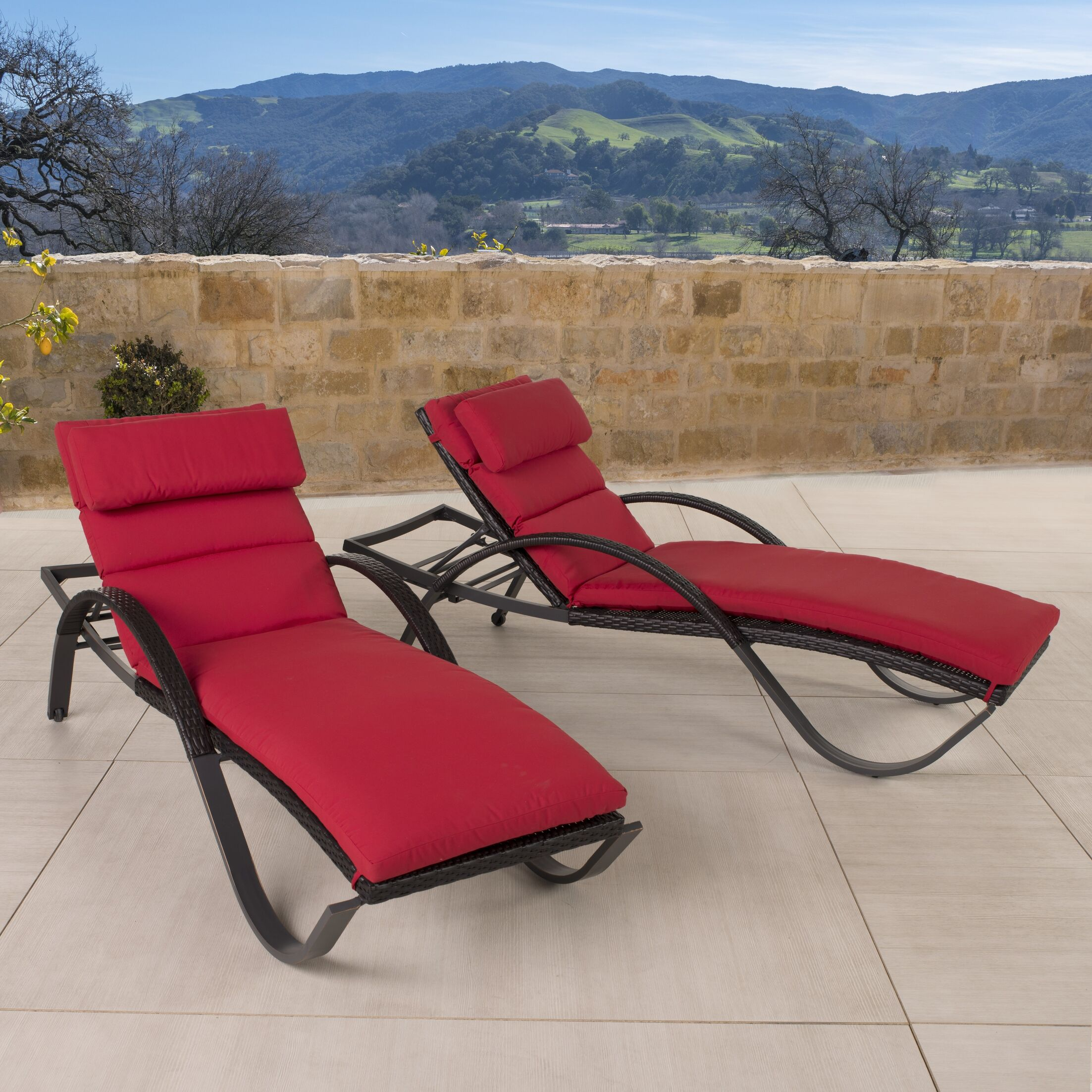 Northridge Chaise Lounge with Cushion Color: Red