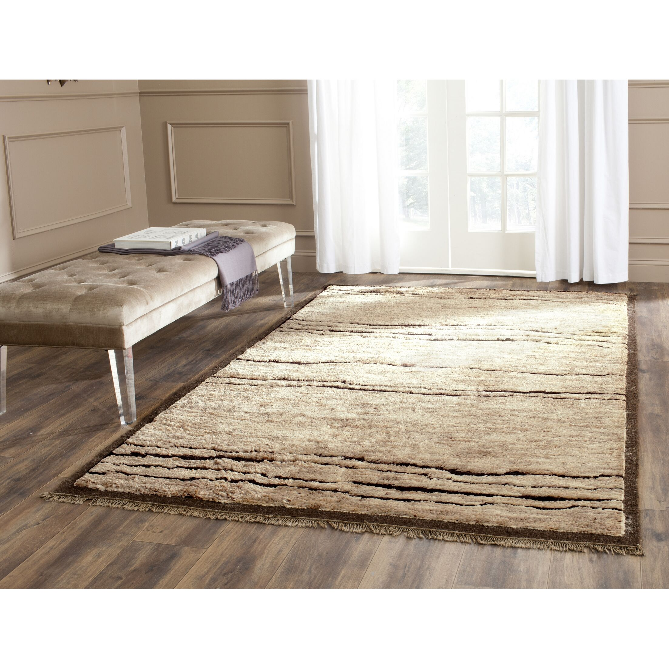 Cosper Hand-Tufted Brown/Tan Area Rug Rug Size: Rectangle 4' x 6'