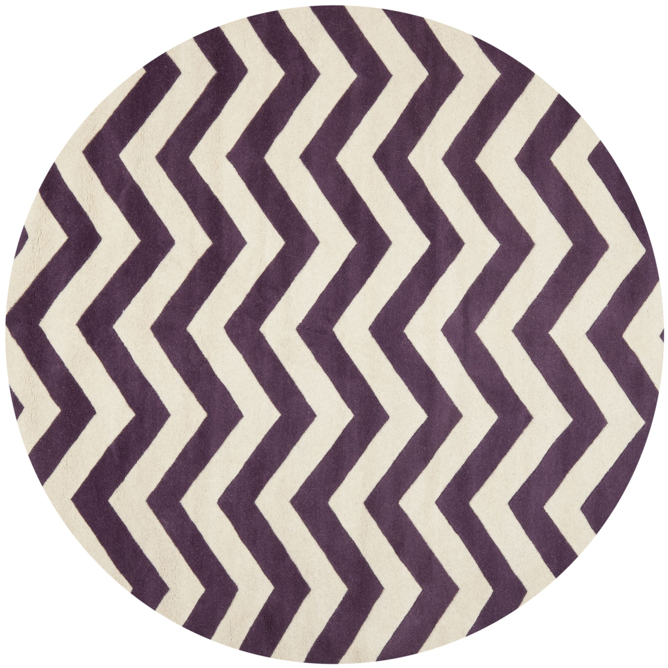 Averett Hand-Tufted Wool Purple/Ivory Area Rug Rug Size: Rectangle 8' x 10'