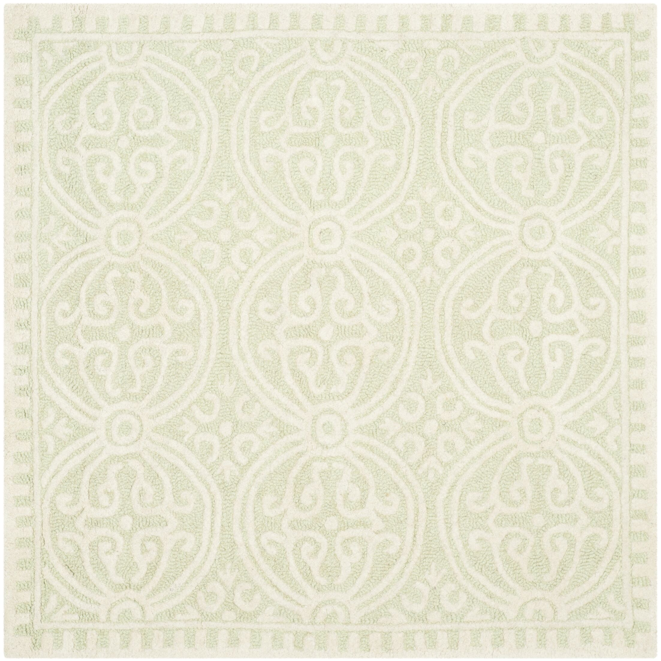 Diona Light Green/Ivory Area Rug Rug Size: Square 6'