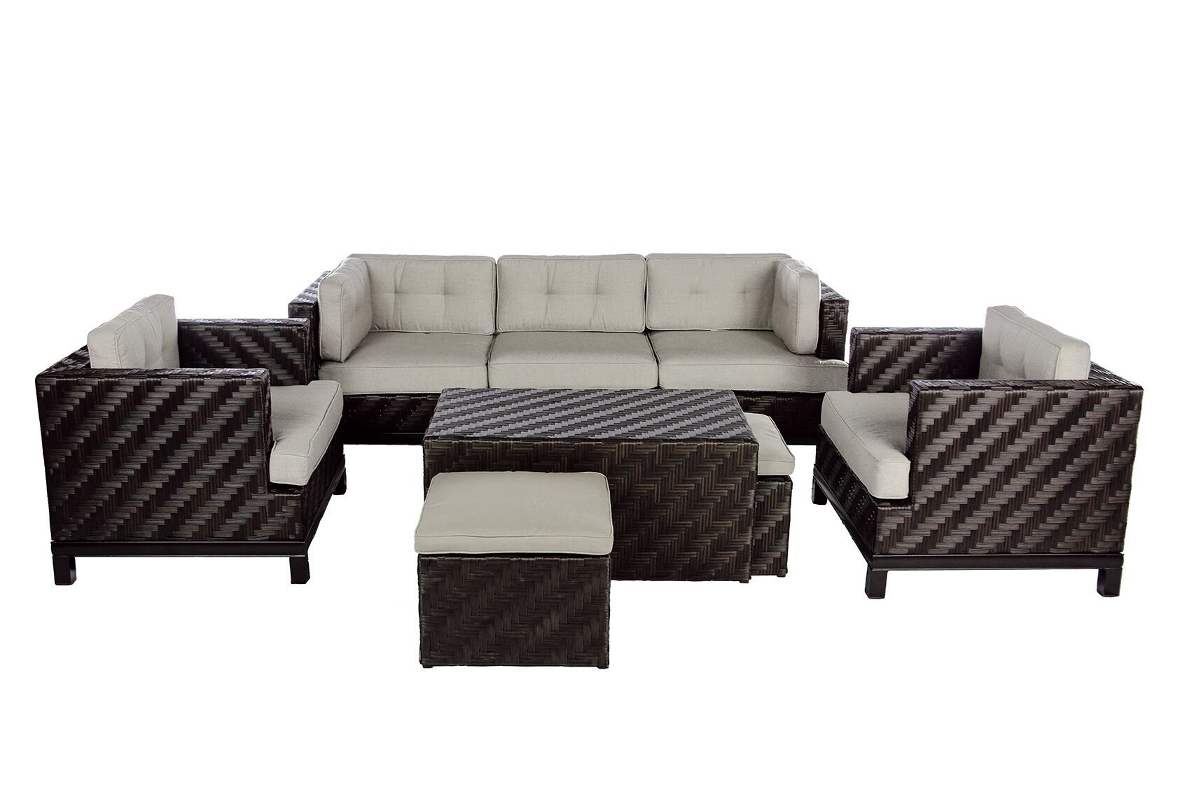 Laforce 8 Piece Sunbrella Sofa Set with Cushions Color: Cast Ash