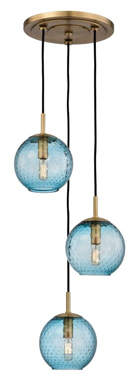 Saltford 3 Bowl Light Cluster Pendant Finish: Aged Brass, Shade Color: Blue