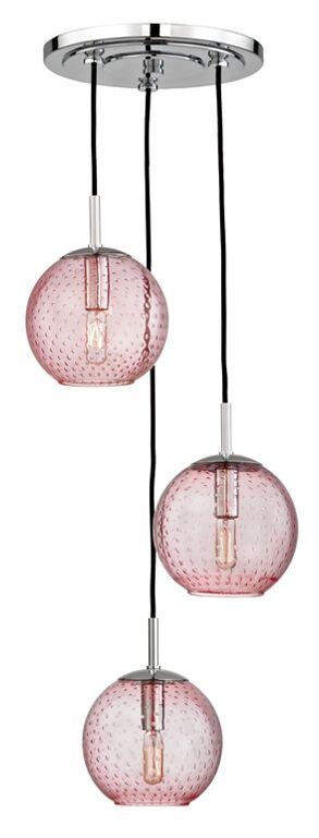 Saltford 3 Bowl Light Cluster Pendant Shade Color: Pink, Finish: Polished Chrome