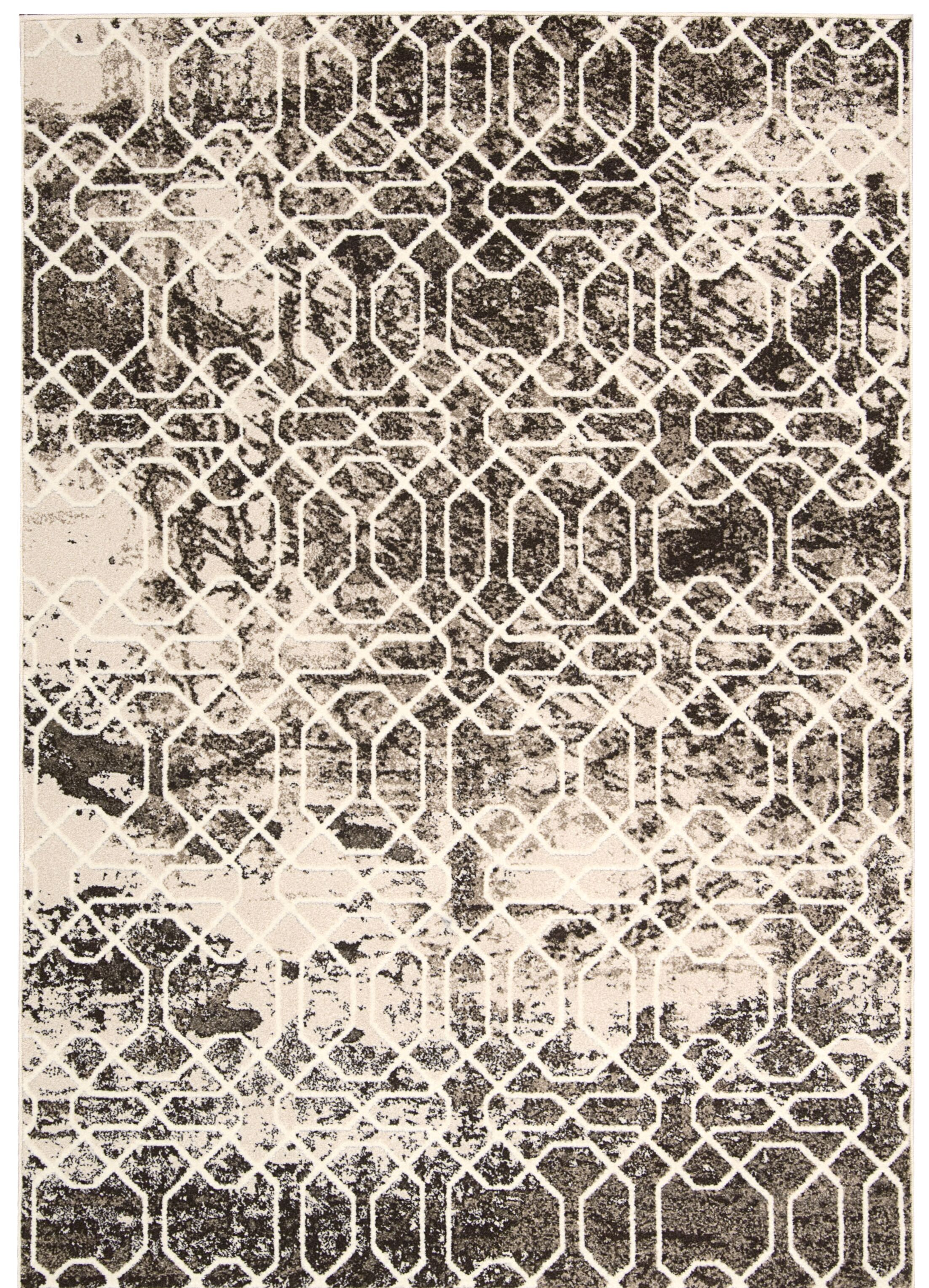 Floria Ivory/Black Area Rug Rug Size: Rectangle 9'10