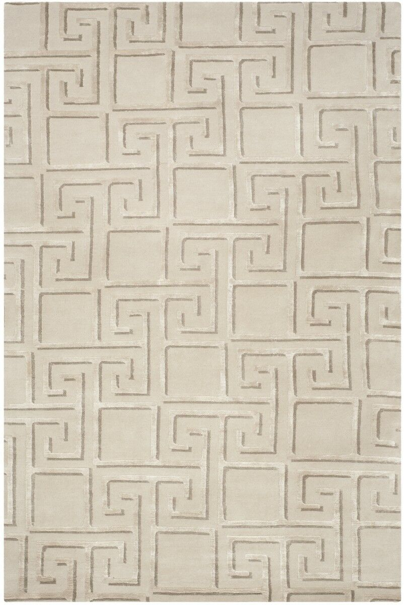 Steinber Hand-Knotted Silver Area Rug Rug Size: Rectangle 9' X 12'