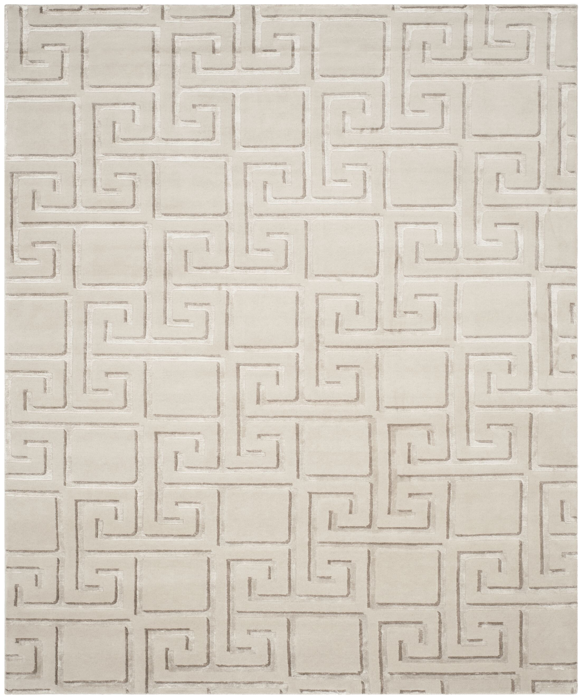 Steinber Hand-Knotted Silver Area Rug Rug Size: Rectangle 8' x 10'