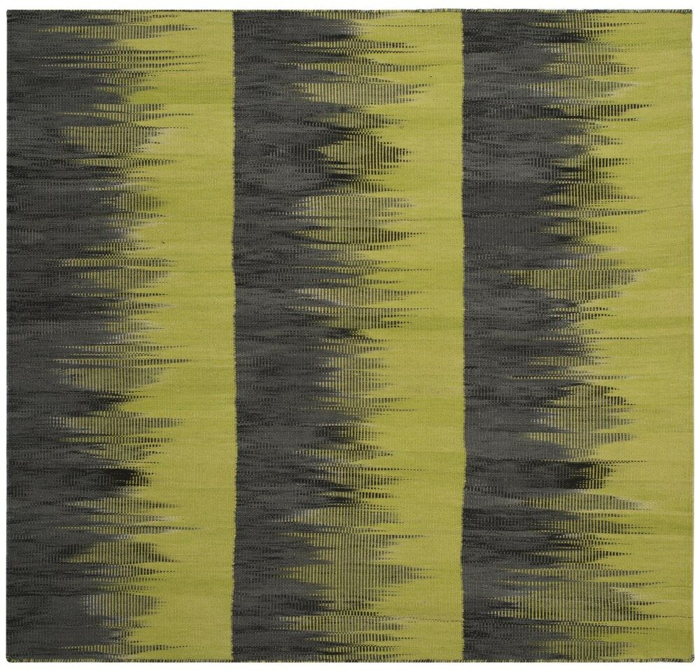 Amerina Hand-Woven Green/Charcoal Area Rug Rug Size: Square 5'