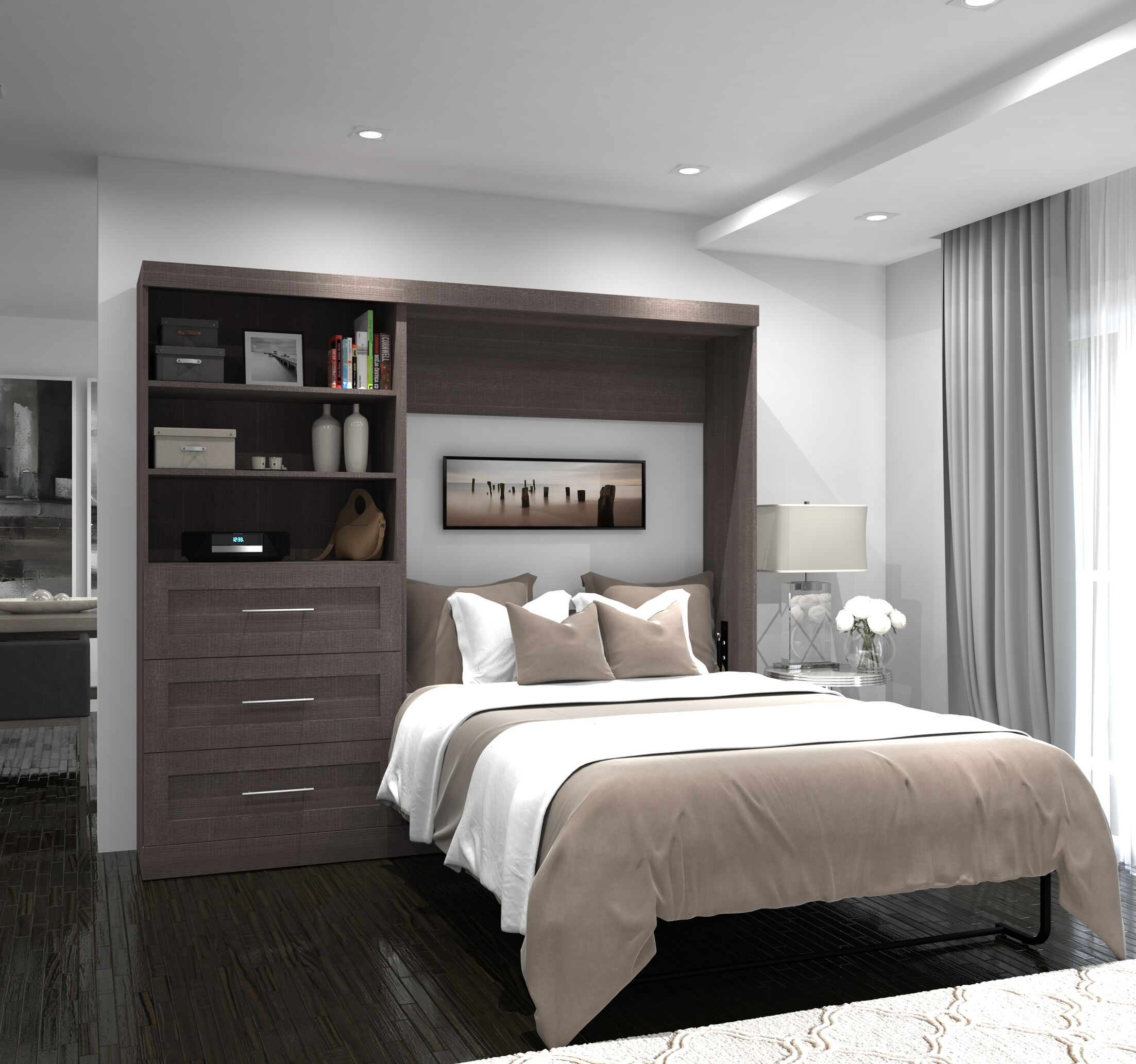 Walley Full Murphy Bed Color: Bark Gray