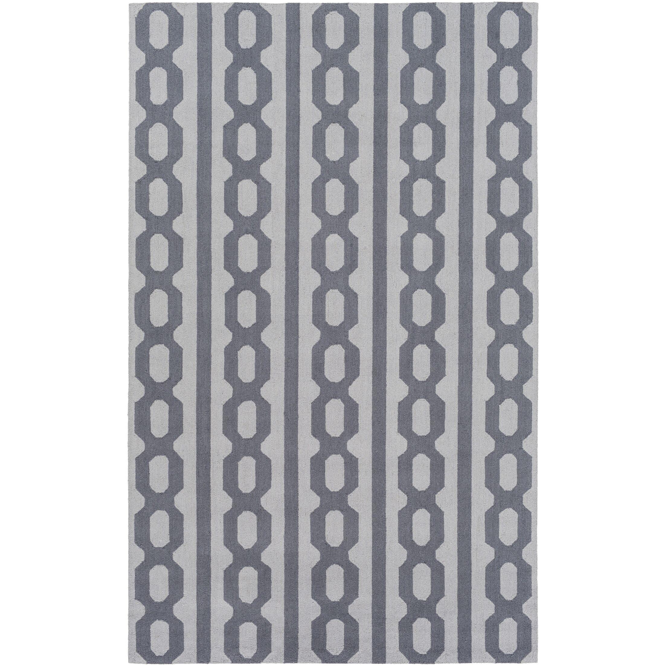 Herring Hand-Hooked Navy/Light Gray Area Rug Rug Size: Rectangle 4' x 6'