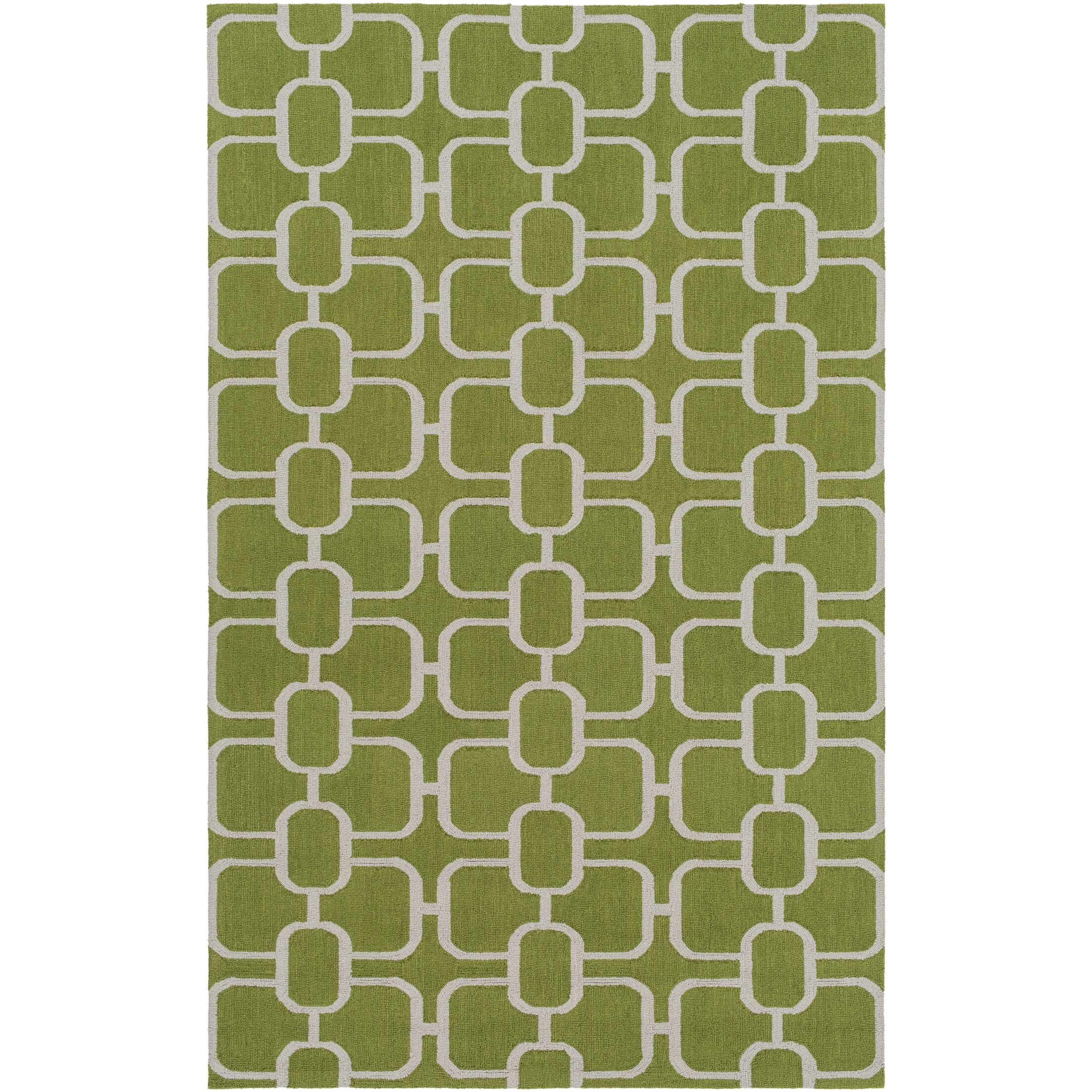 Herring Hand-Hooked Grass Green/Light Gray Area Rug Rug Size: Rectangle 8' x 10'
