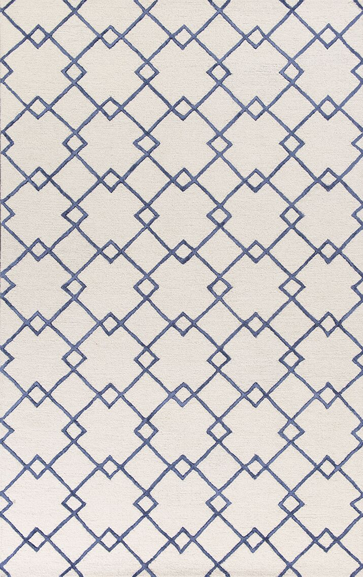 Frankie Hand-Tufted Ivory/Blue Area Rug Rug Size: Rectangle 5' x 7'6