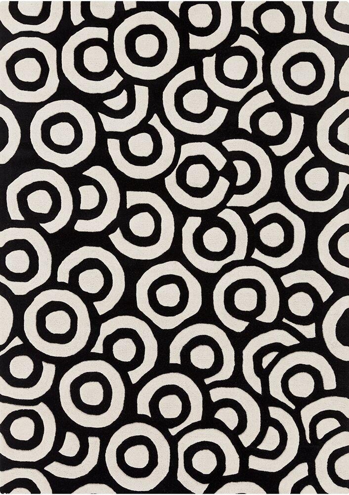 Perna Black & White Geometric Area Rug Rug Size: 7' x 10'
