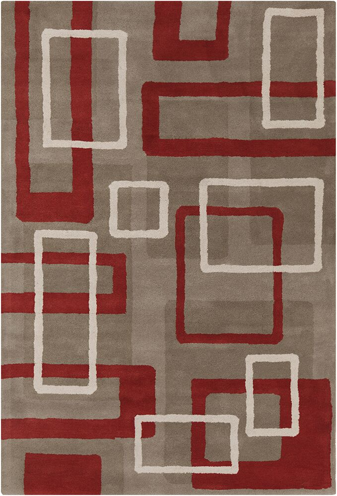Oritz Hand Tufted Wool Light Taupe/Rusty Red Area Rug Rug Size: 5' x 7'6