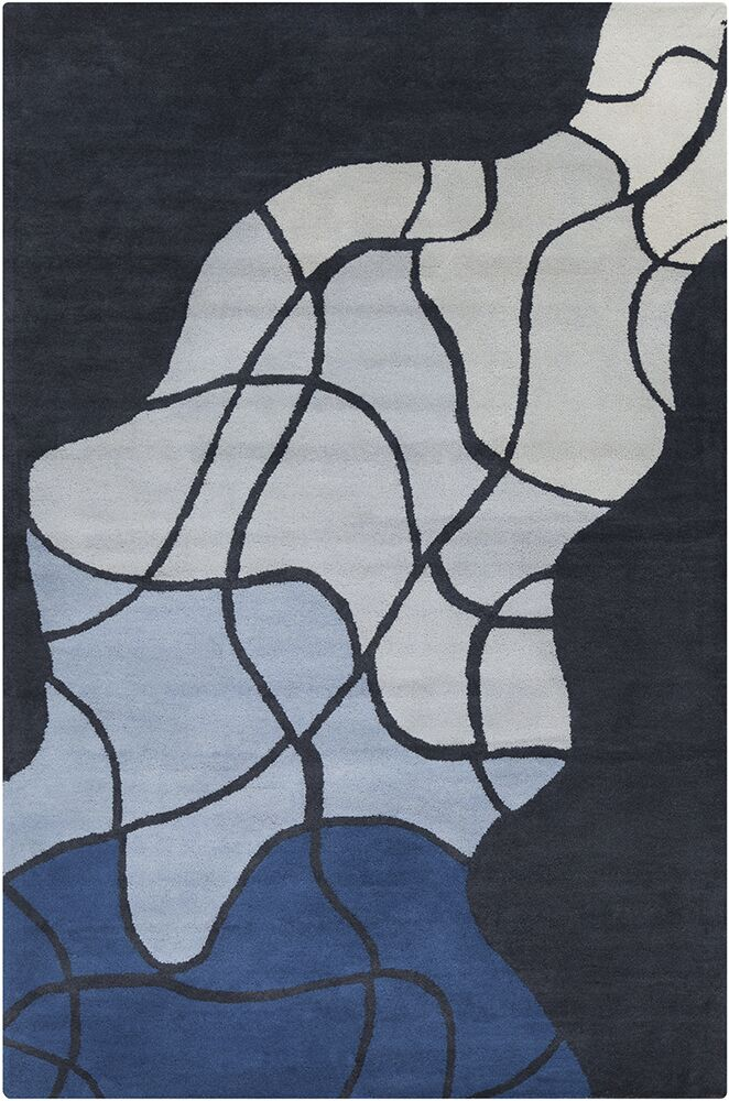 Oritz Hand Tufted Wool Gray/Blue Area Rug Rug Size: 5' x 7'6
