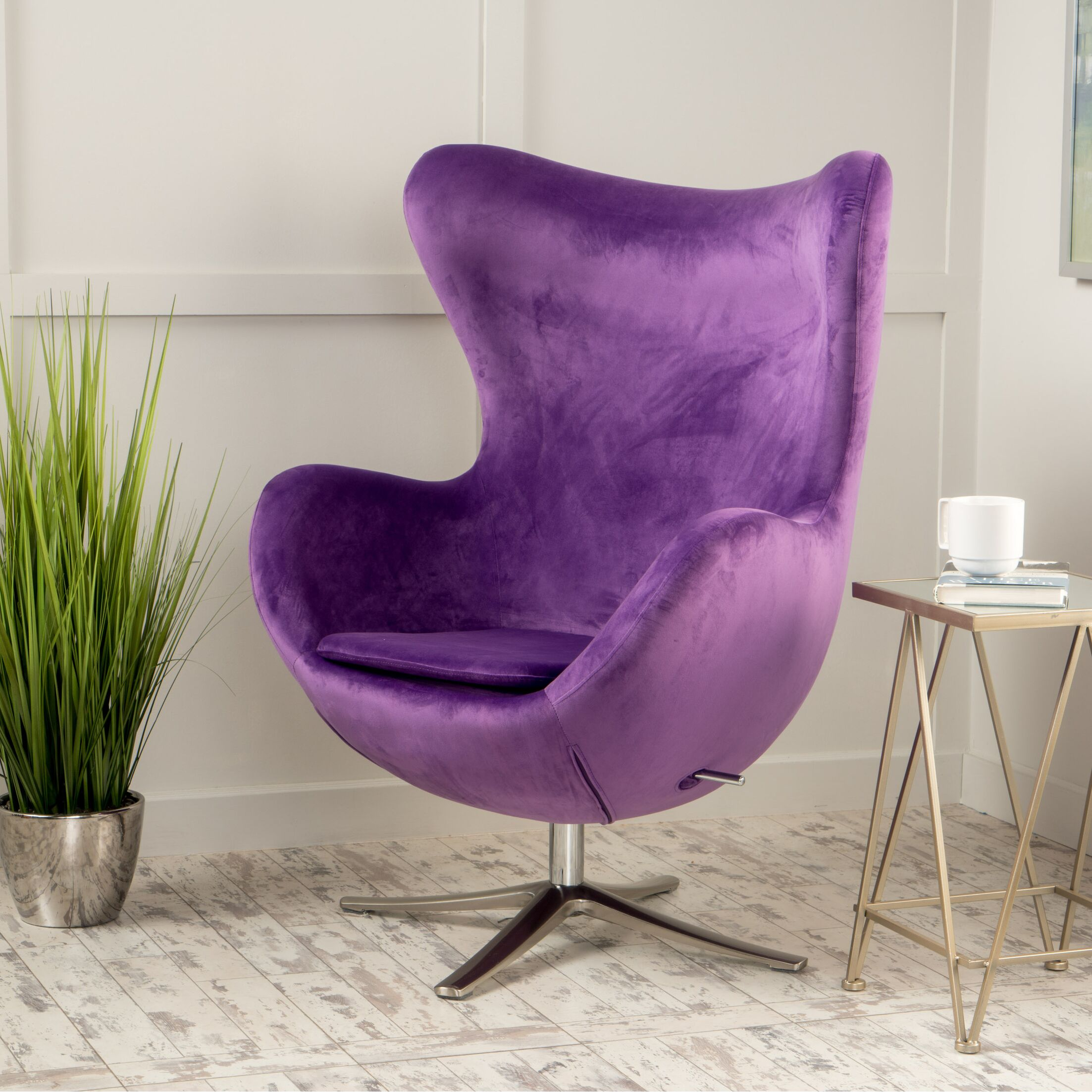 Fleischman Swivel Balloon Chair Upholstery: Eggplant