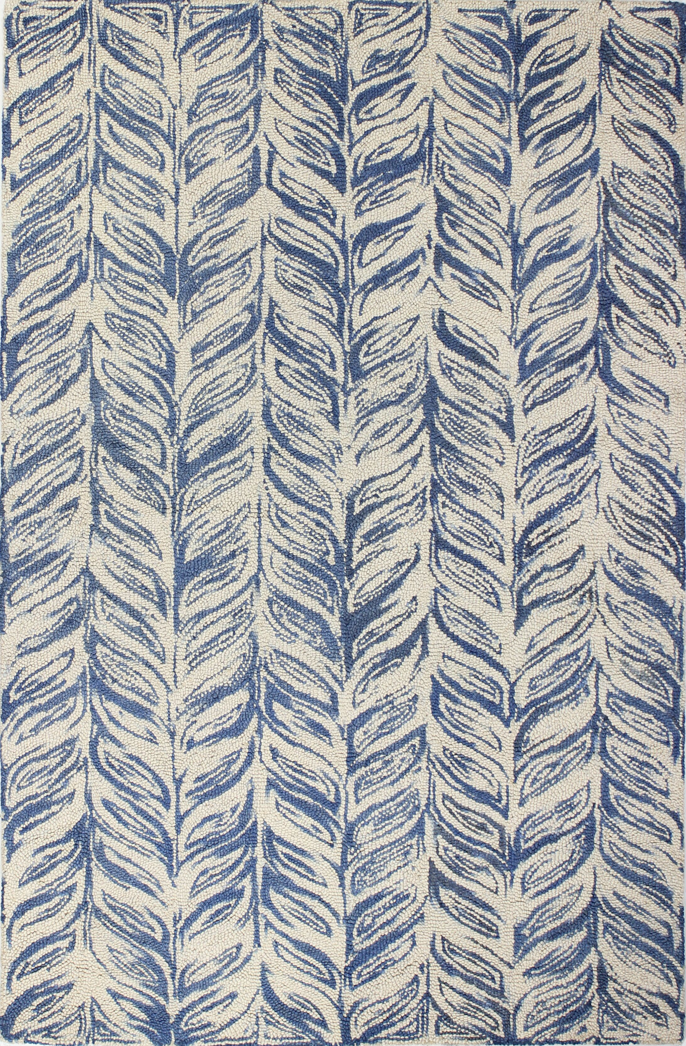 Luckett Hand-Tufted Ivory/Blue Area Rug Rug Size: Rectangle 5' x 7'6