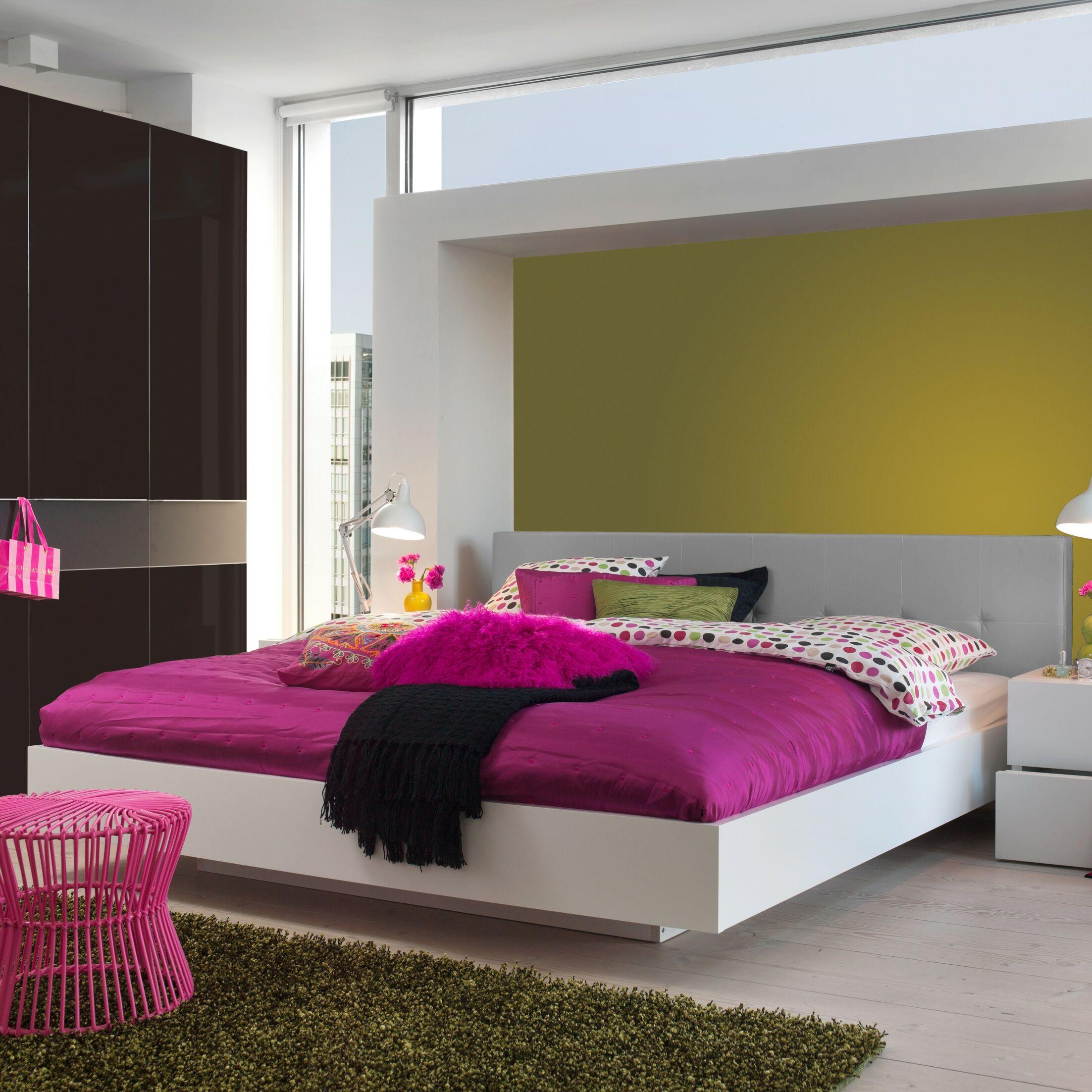 Horsham Upholstered Platform Bed Frame Color: Wenge, Headboard Color: White, Size: King