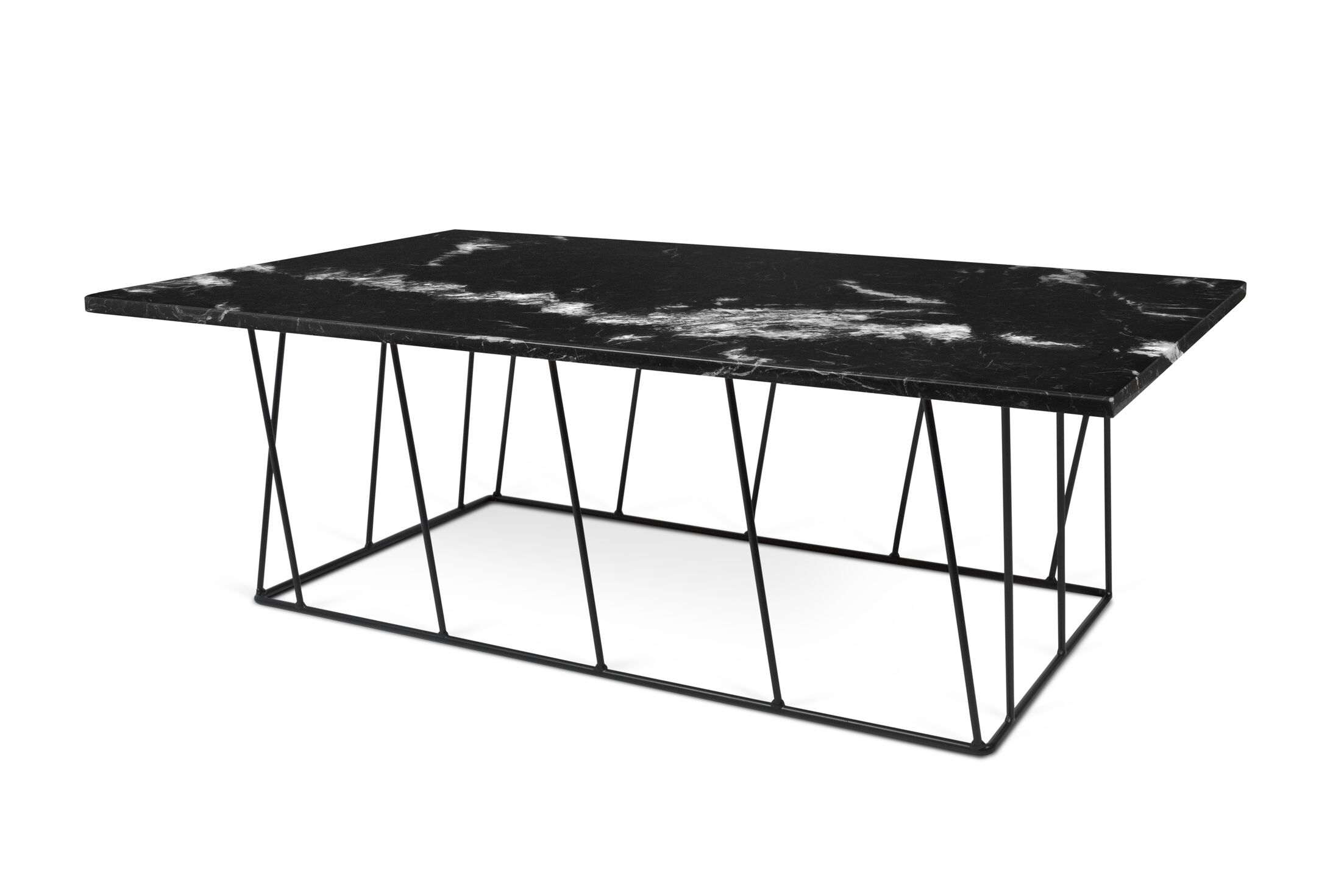Sligh Coffee Table with Magazine Rack Top Color: Black Marble, Base Color: Black Lacquered Steel
