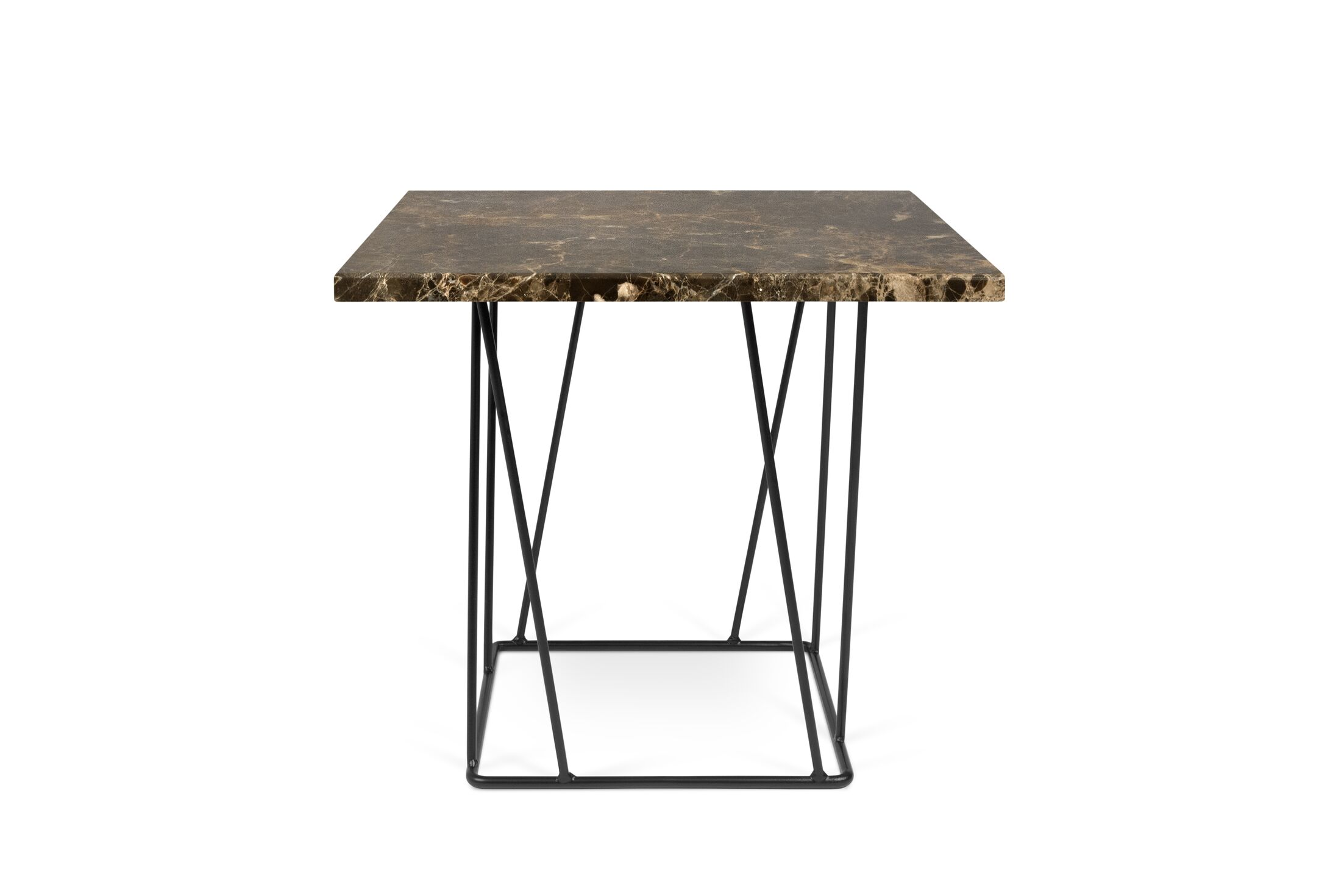 Sligh Coffee Table Top Color: Brown Marble, Base Color: Black Lacquered Steel