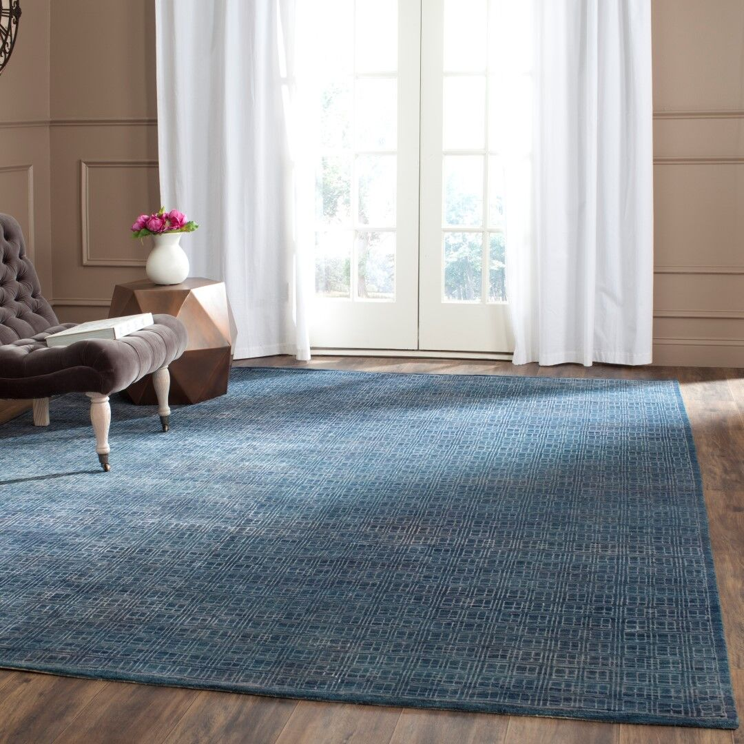 Darrow Hand-Knotted Navy Area Rug Rug Size: Rectangle 8' x 10'