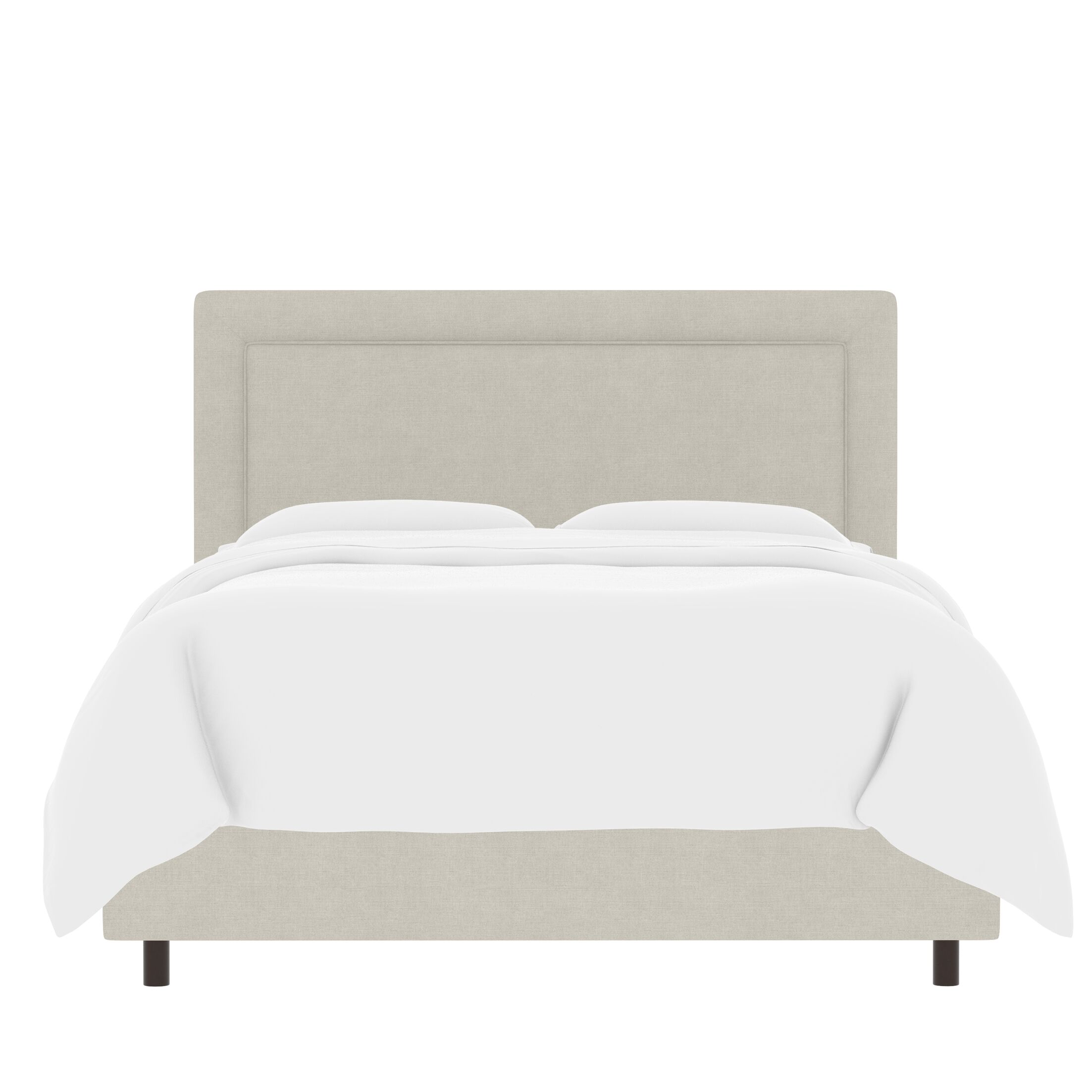 Sandy Border Linen Upholstered Panel Bed Size: Twin, Color: Talc