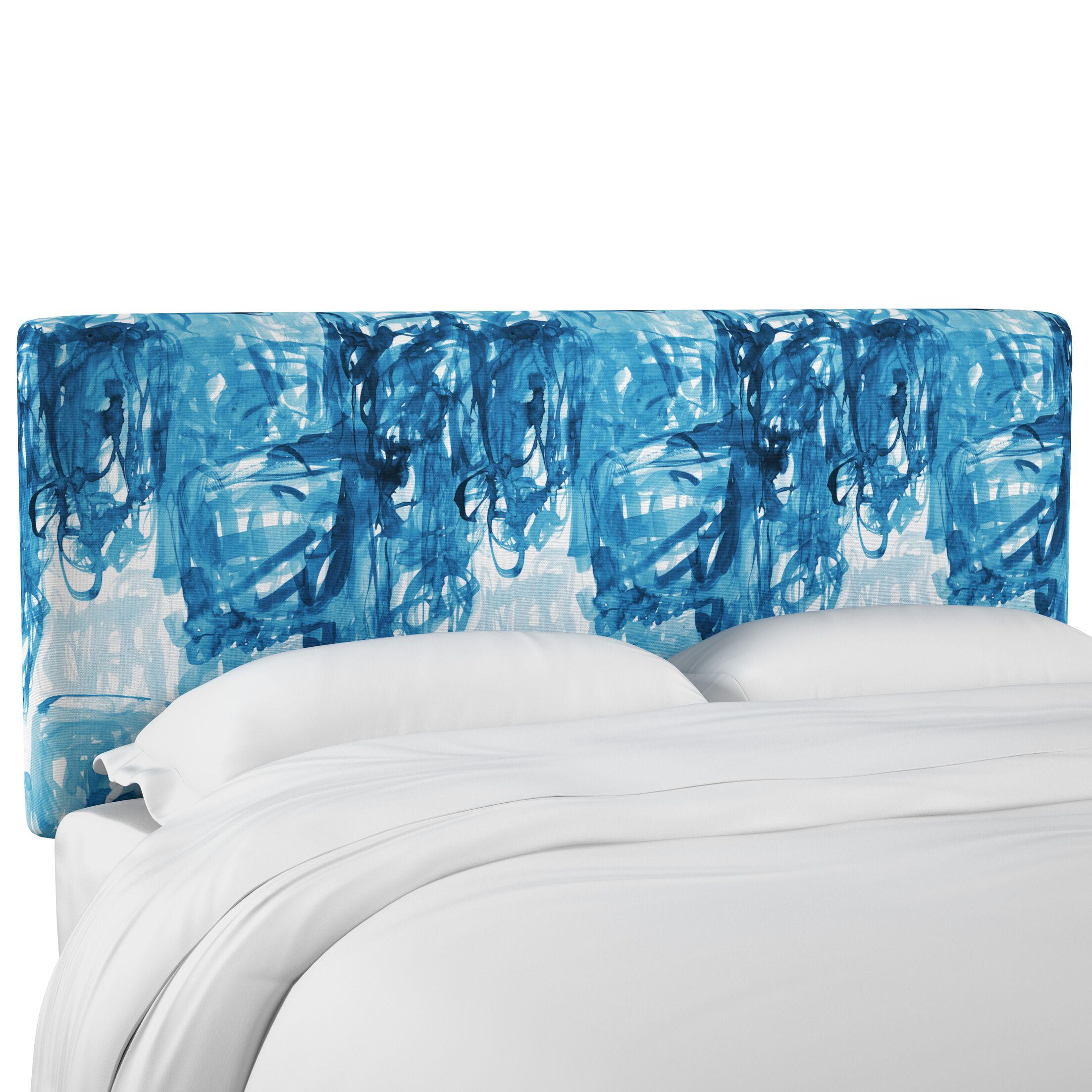 Prado Stroke Block Linen Upholstered Panel Headboard Size: Full
