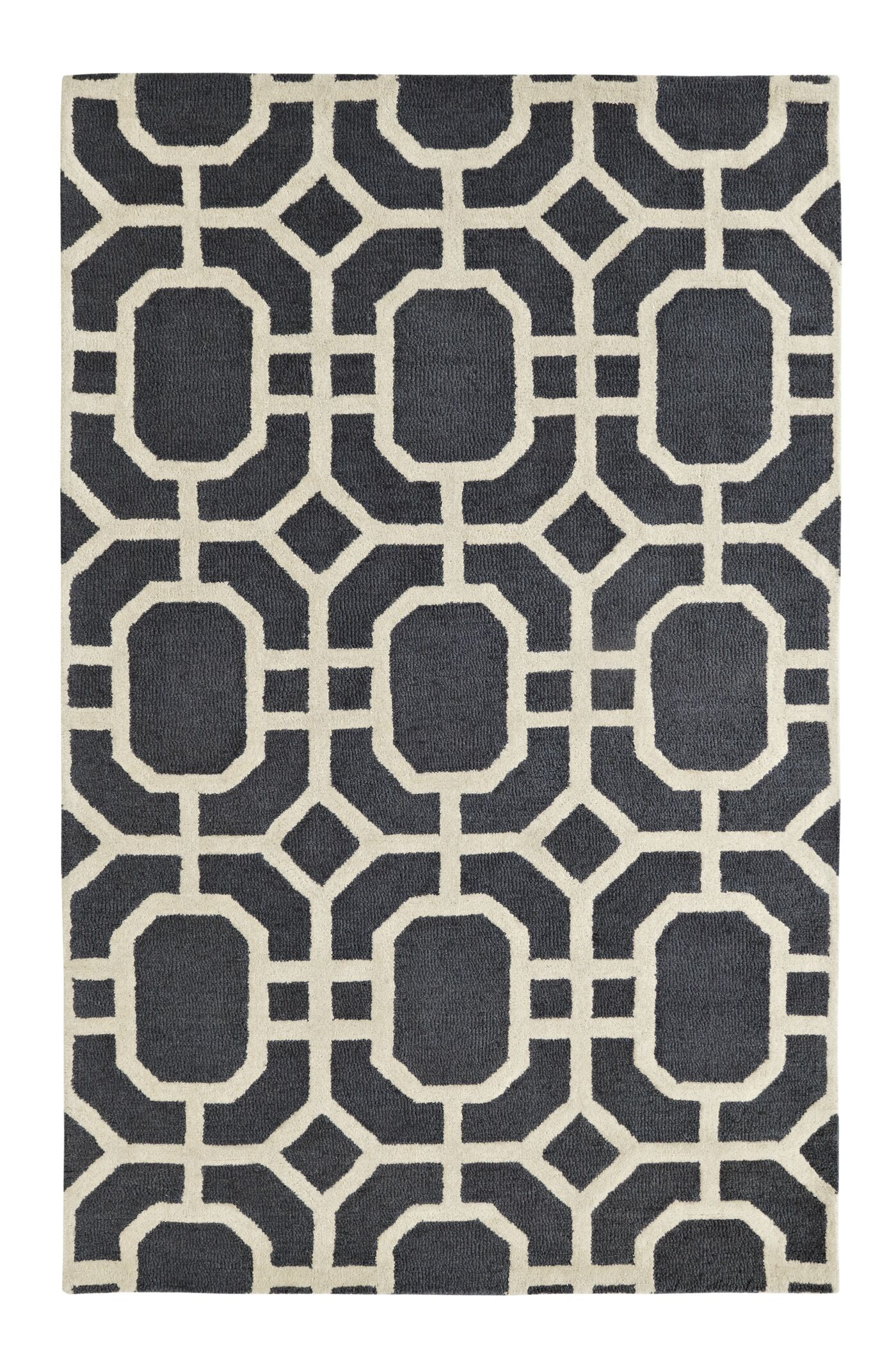 Rentz Ivory/Grey Area Rug Rug Size: Rectangle 4' x 6'