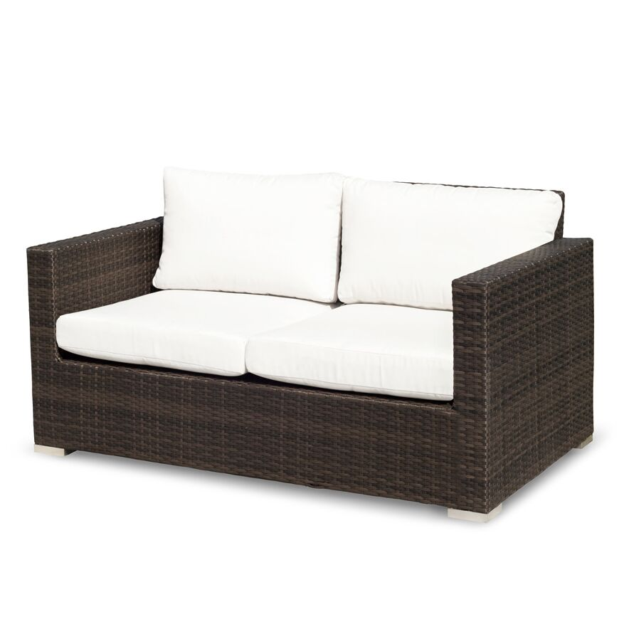 Ronning Love Seat with Cushions Fabric: Off-White