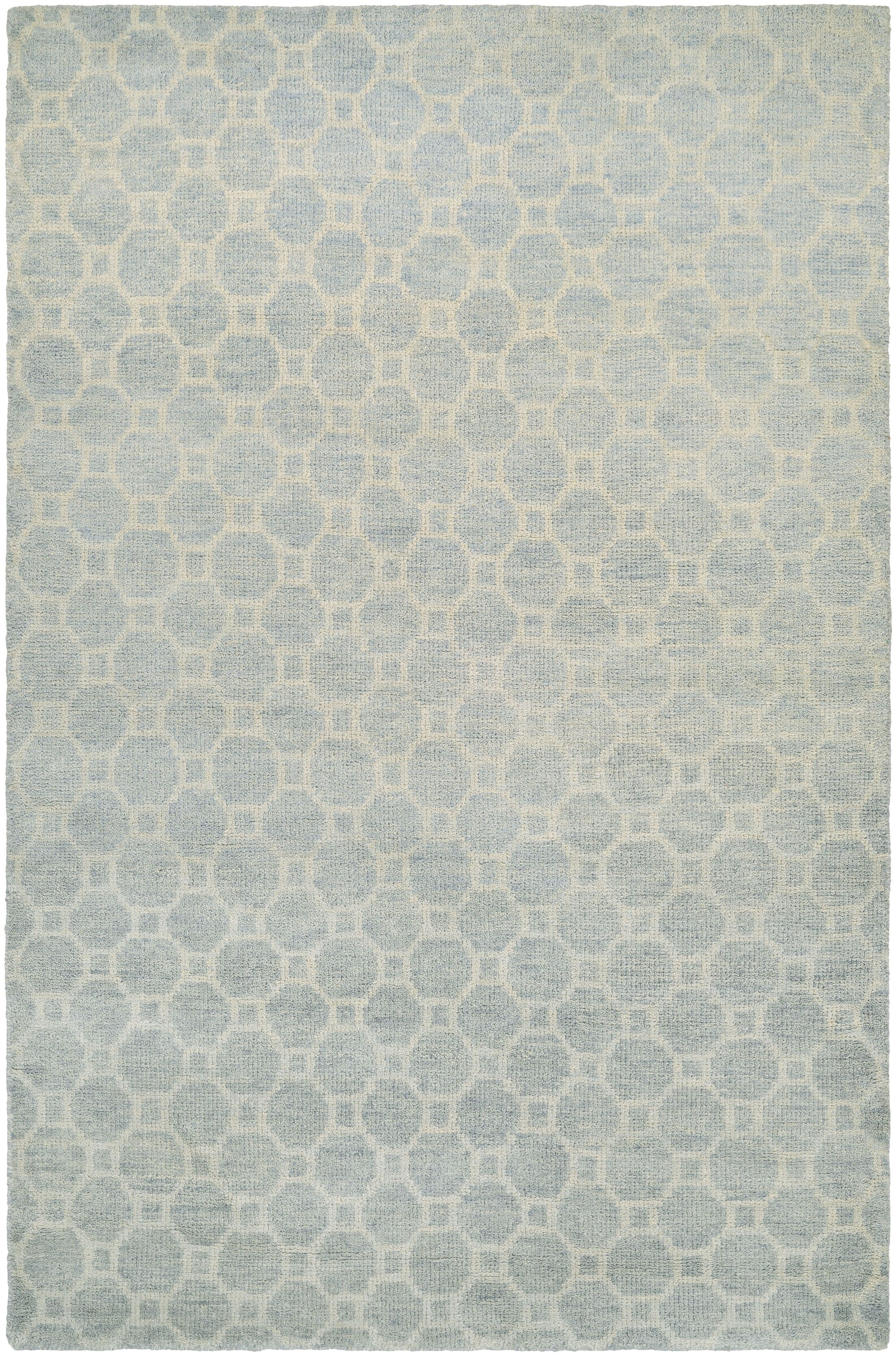 Lopresti Hand-Knotted Ivory/Light Blue Area Rug Rug Size: Rectangle 8' x 11'