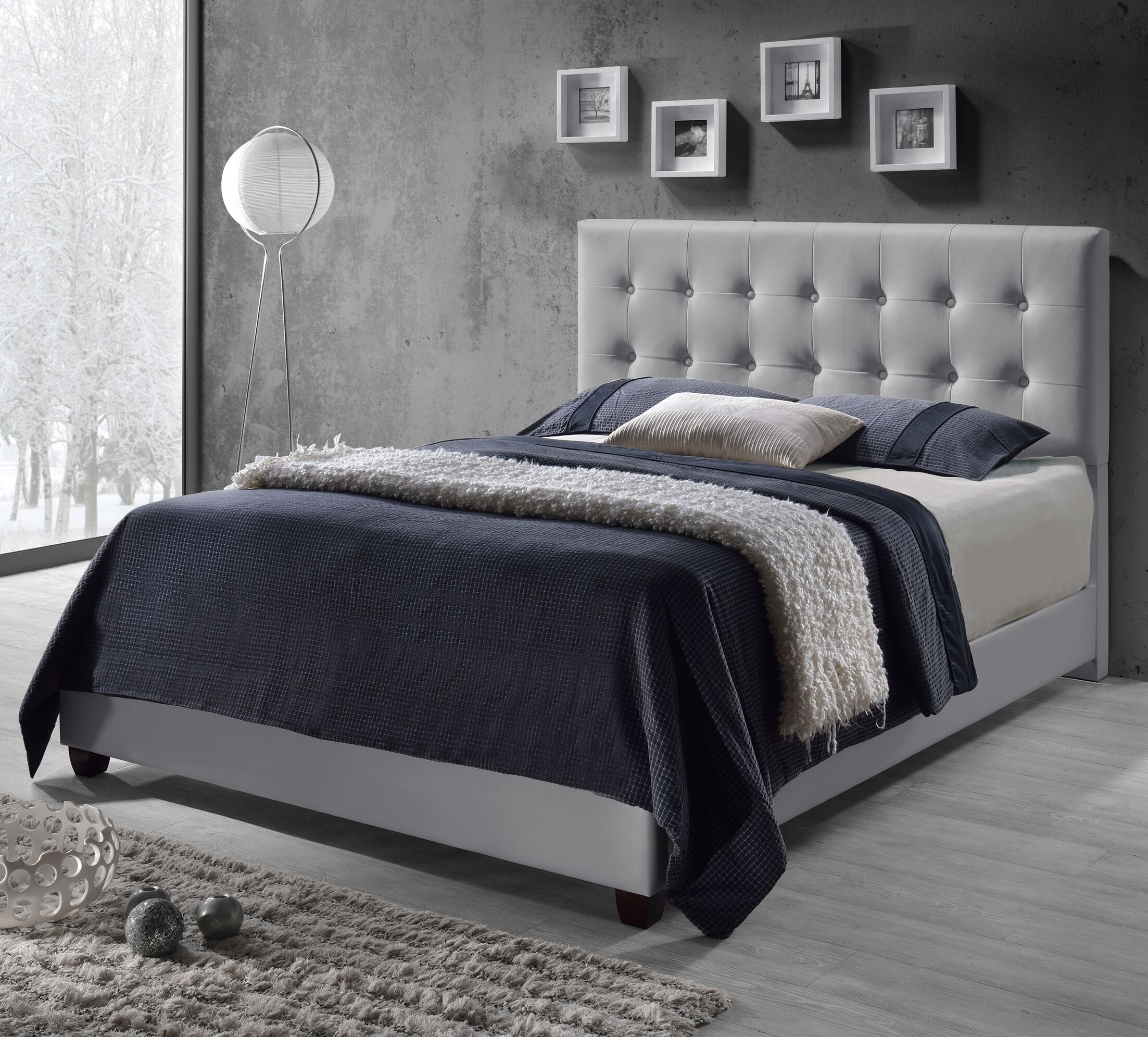 Tilton Upholstered Panel Bed Size: Queen, Color: Grey