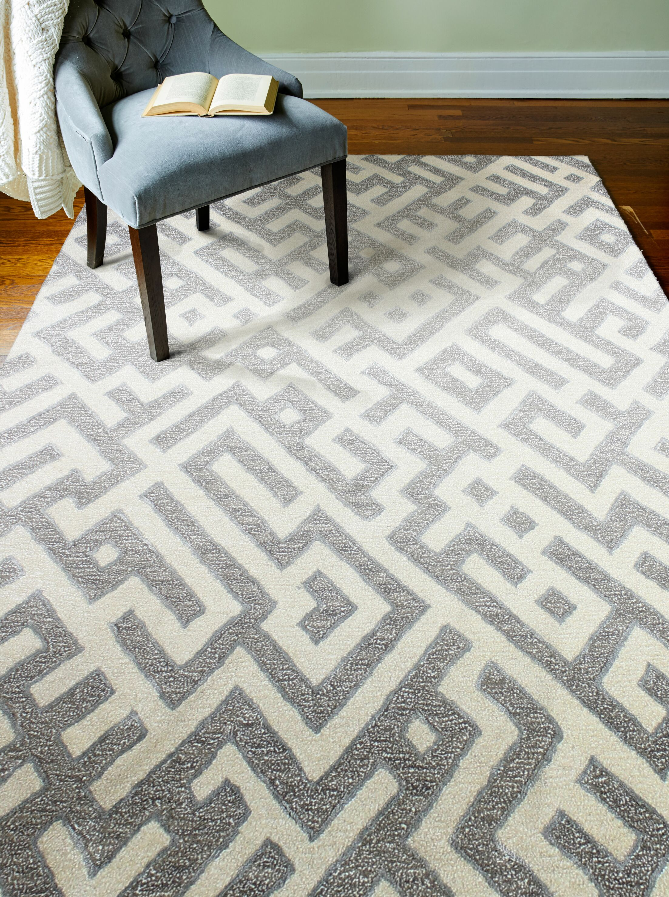 Lucus Hand-Tufted White/Taupe Area Rug Rug Size: Rectangle 3'6