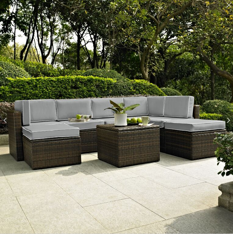 Belton 8 Piece Sectional Set with Cushions Fabric: Grey
