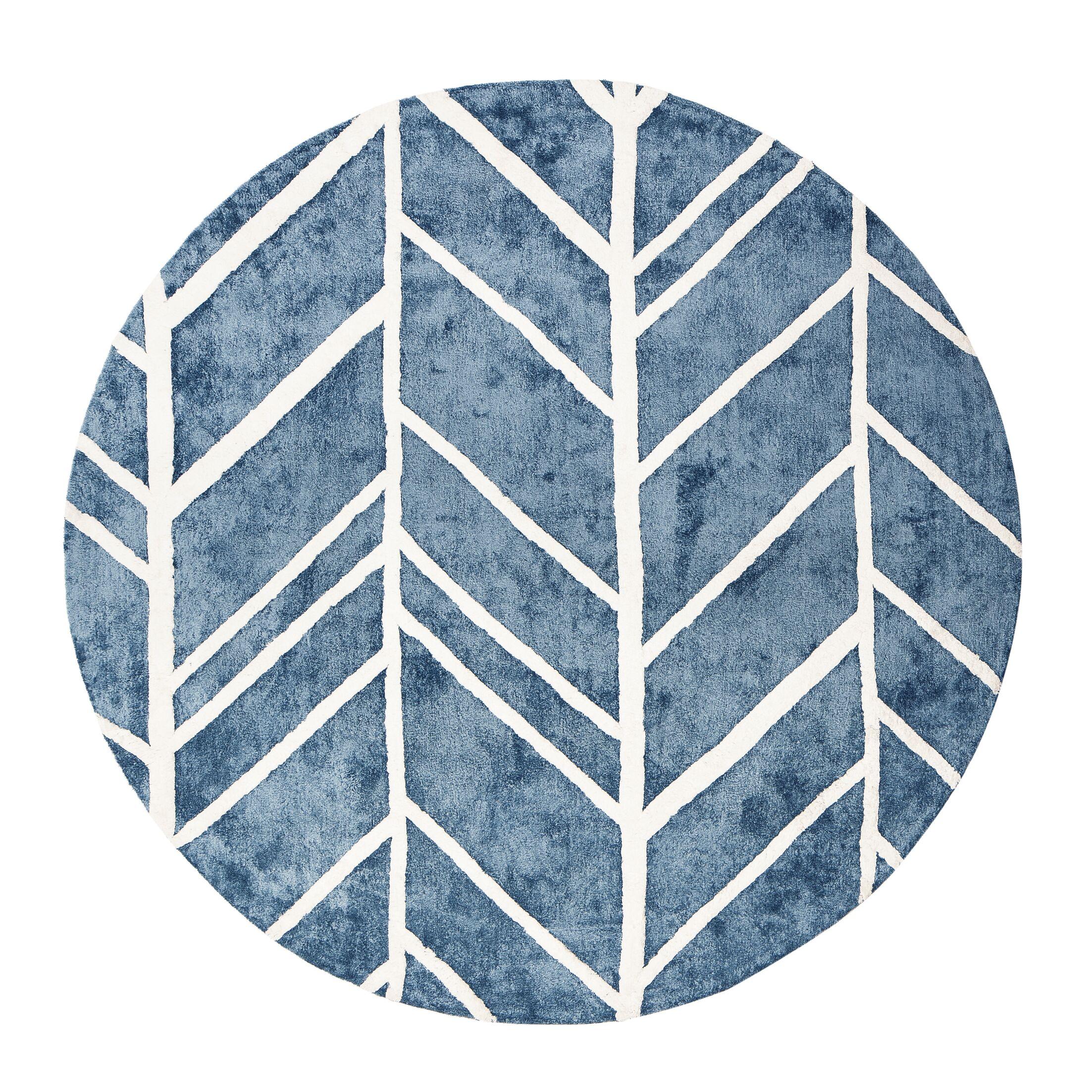 Castleberry Blue Area Rug Rug Size: Round 6'