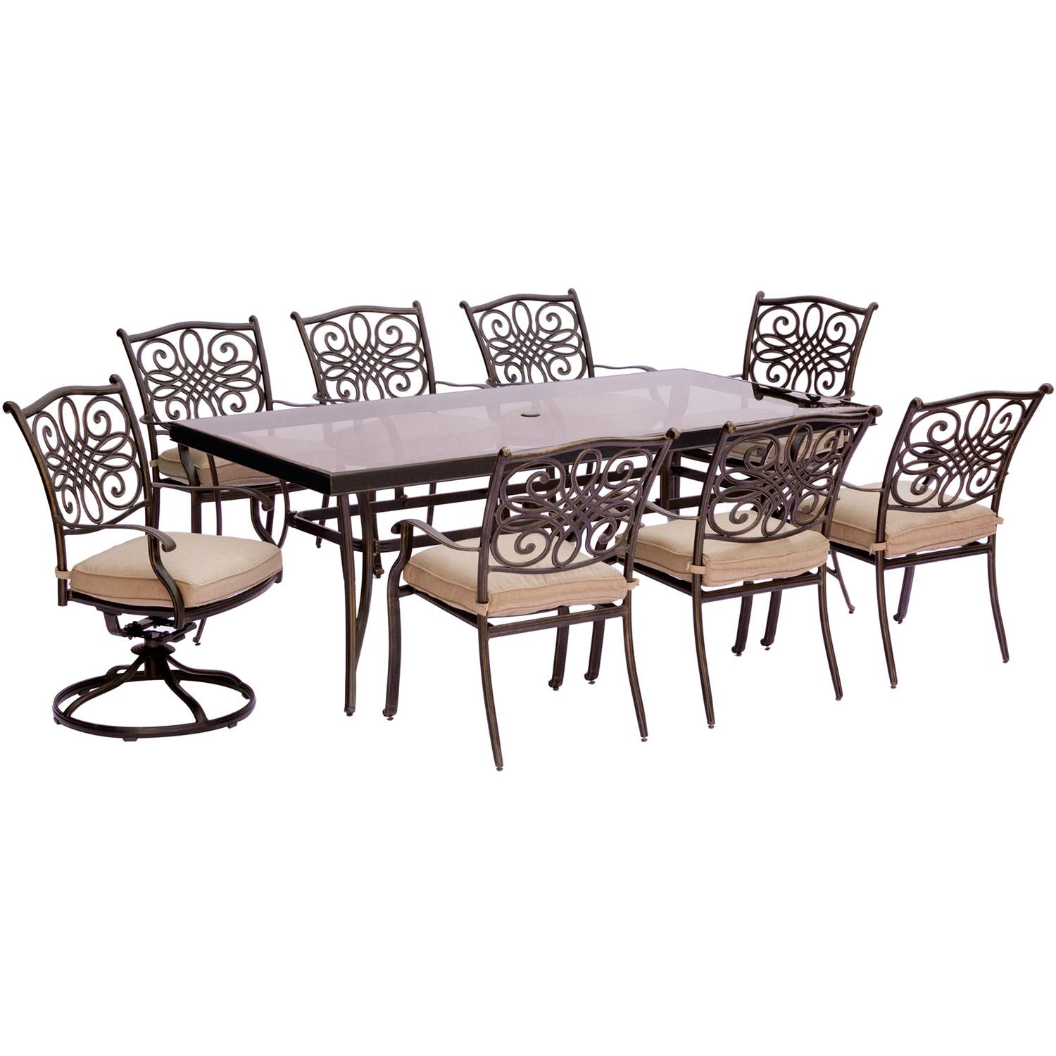 Lauritsen 9 Piece Rectangular Glass Top Dining Set with Cushions Cushion Color: Natural Oat