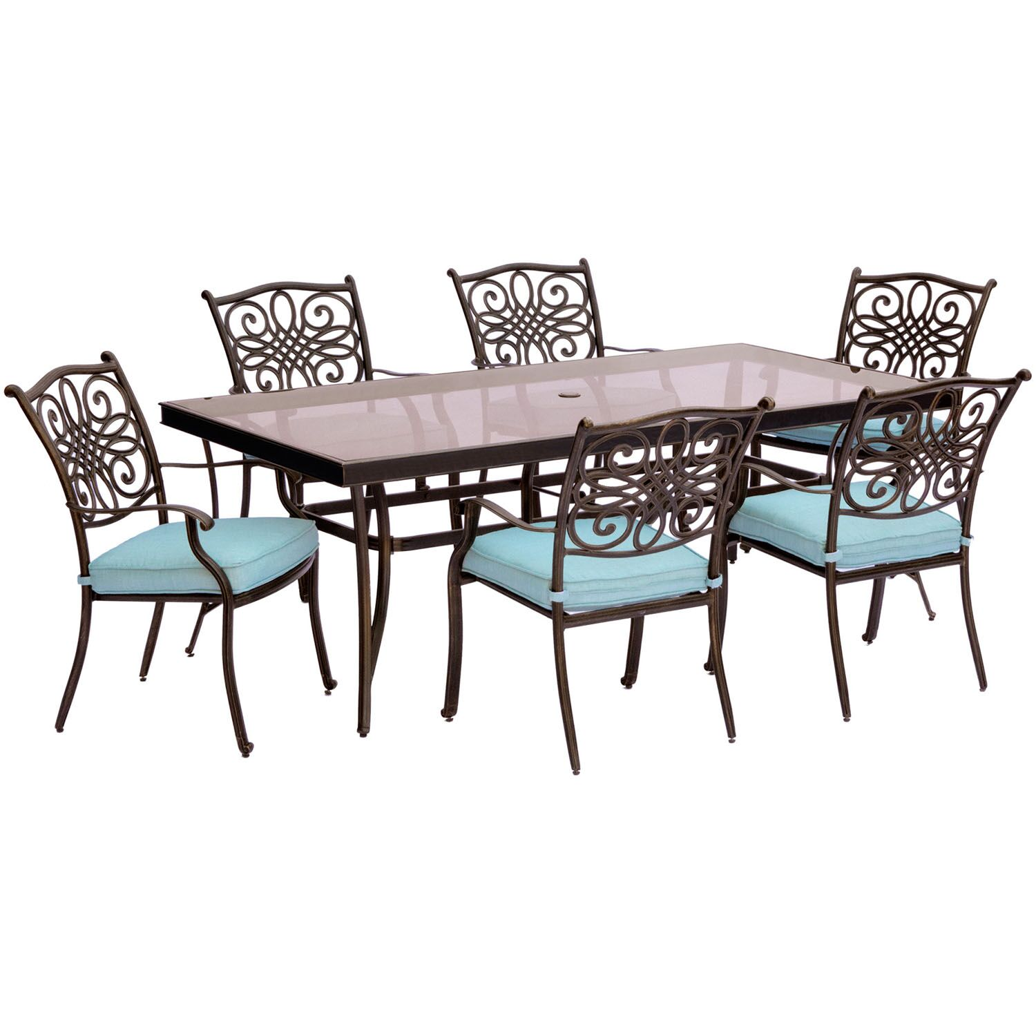 Lauritsen 7 Piece Aluminum Dining Set with Cushions Cushion Color: Blue