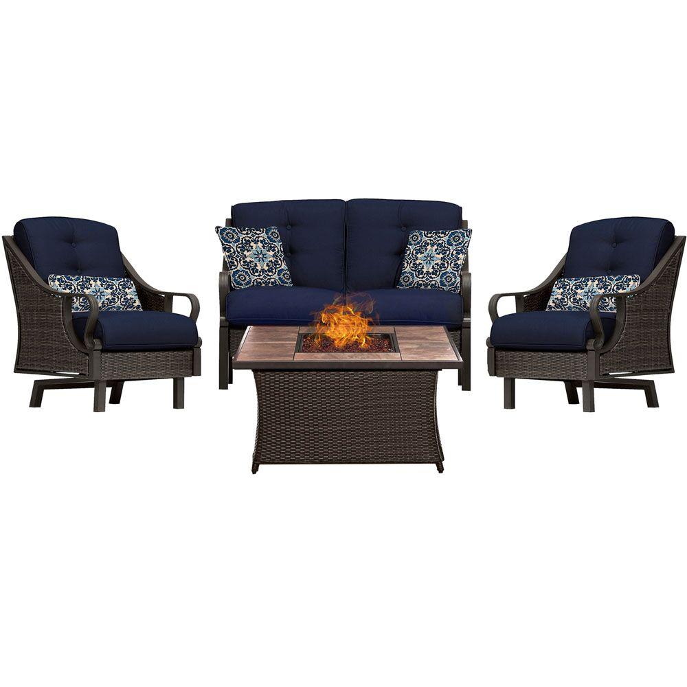 Sherwood 4 Piece Sofa Set with Cushions Fabric: Navy