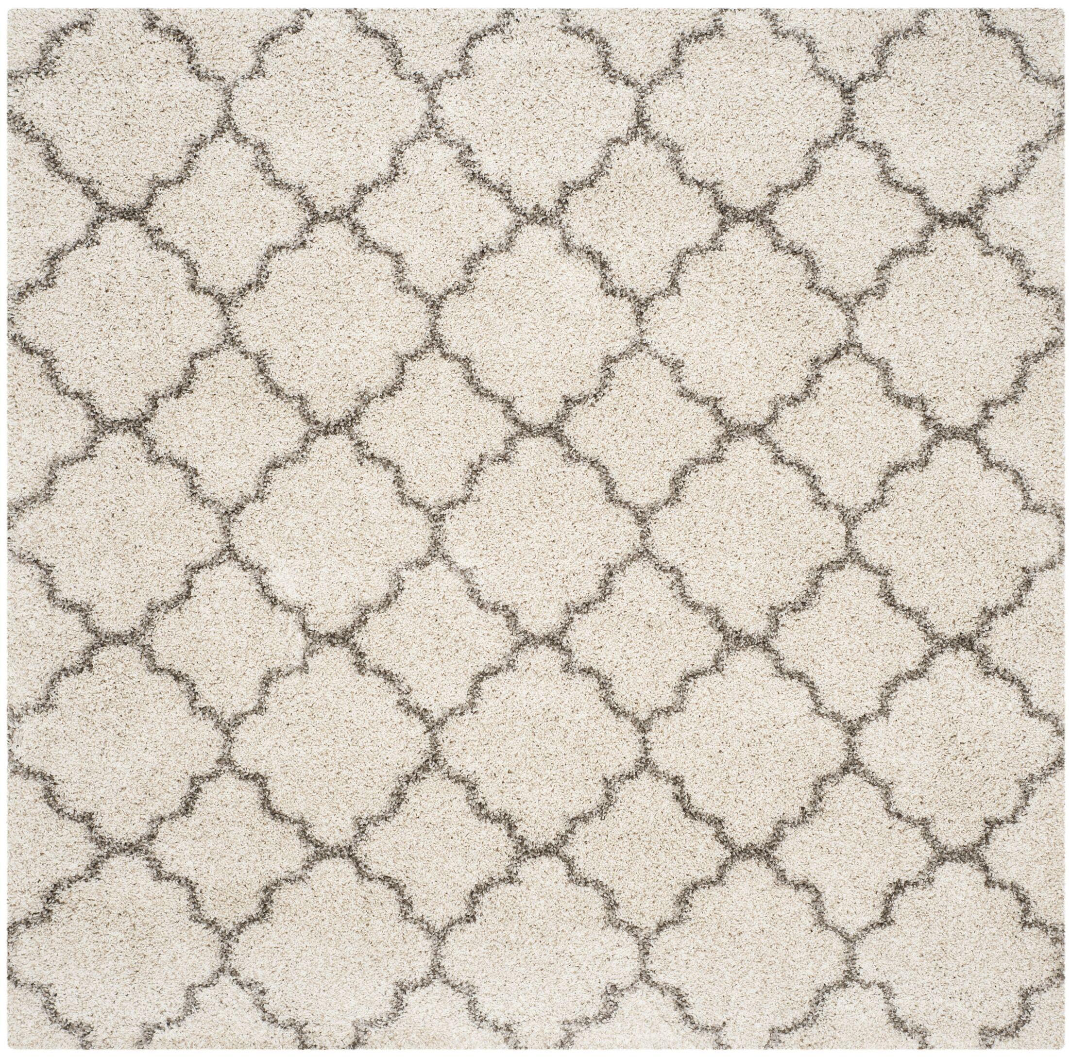 Samira Shag Ivory/Gray Area Rug Rug Size: Square 8'