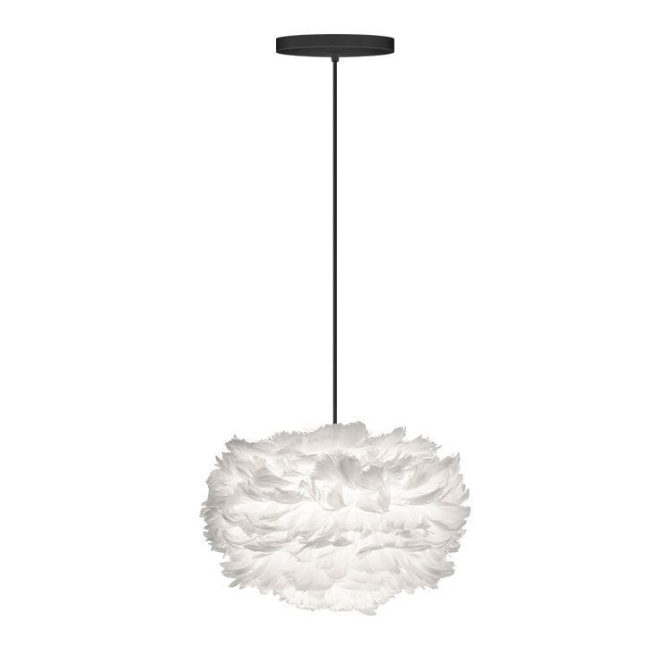 1 Light Globe Hardwired Pendant Cord/Cable Finish: Black, Shade Color: White, Size: 17.7