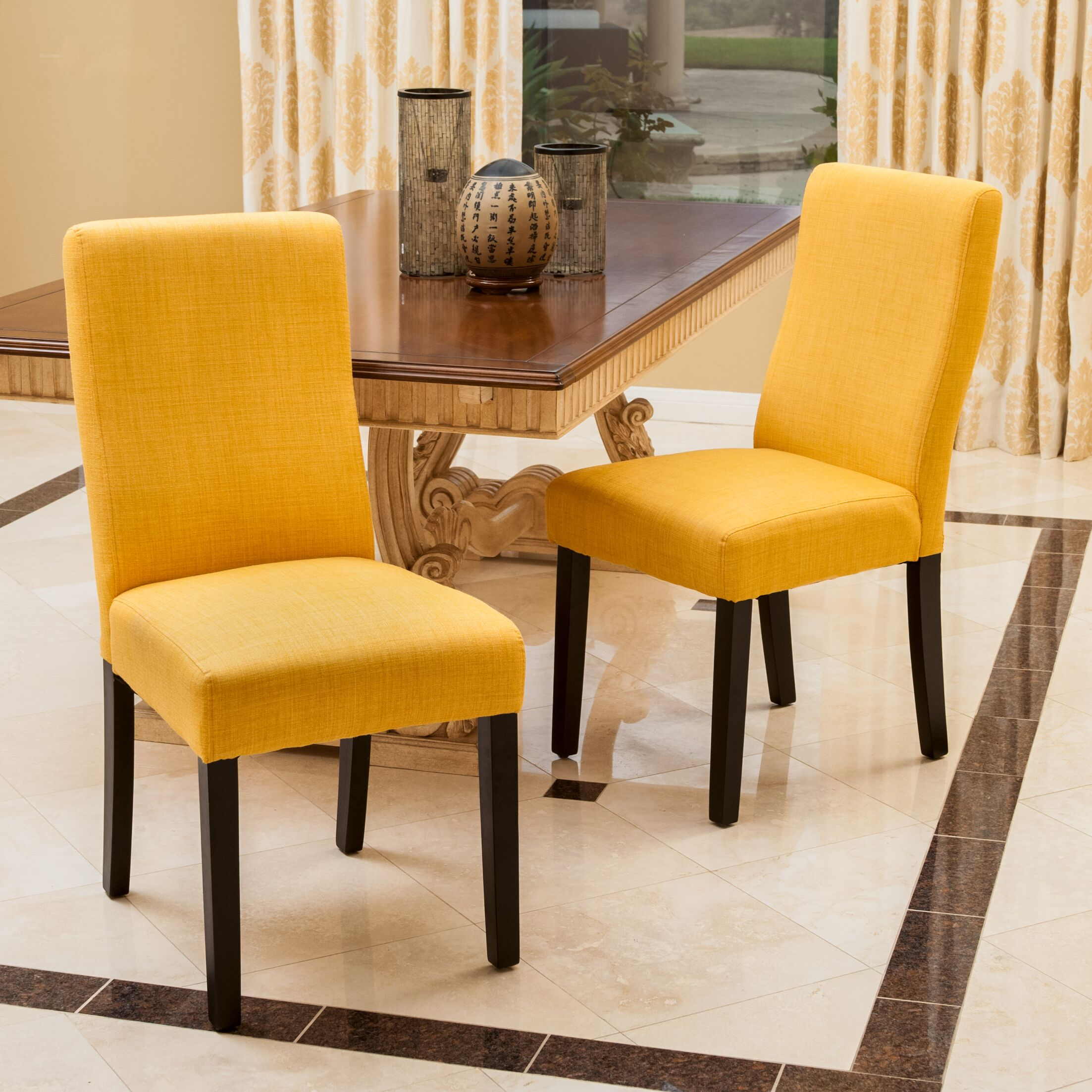 Caverly Parsons Dining Chair Upholstery Color: Apricot