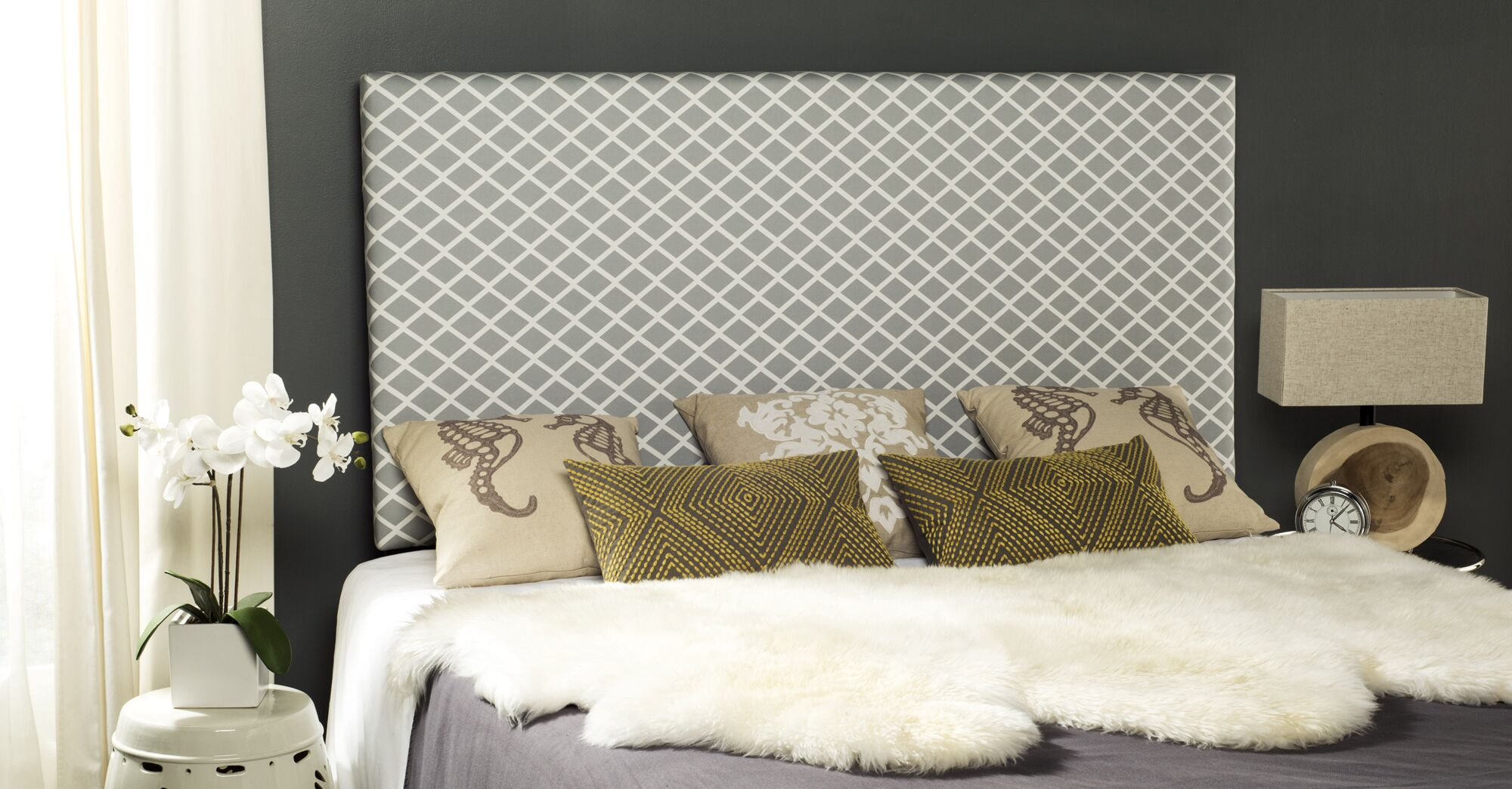 Collum Upholstered Panel Headboard Size: Queen