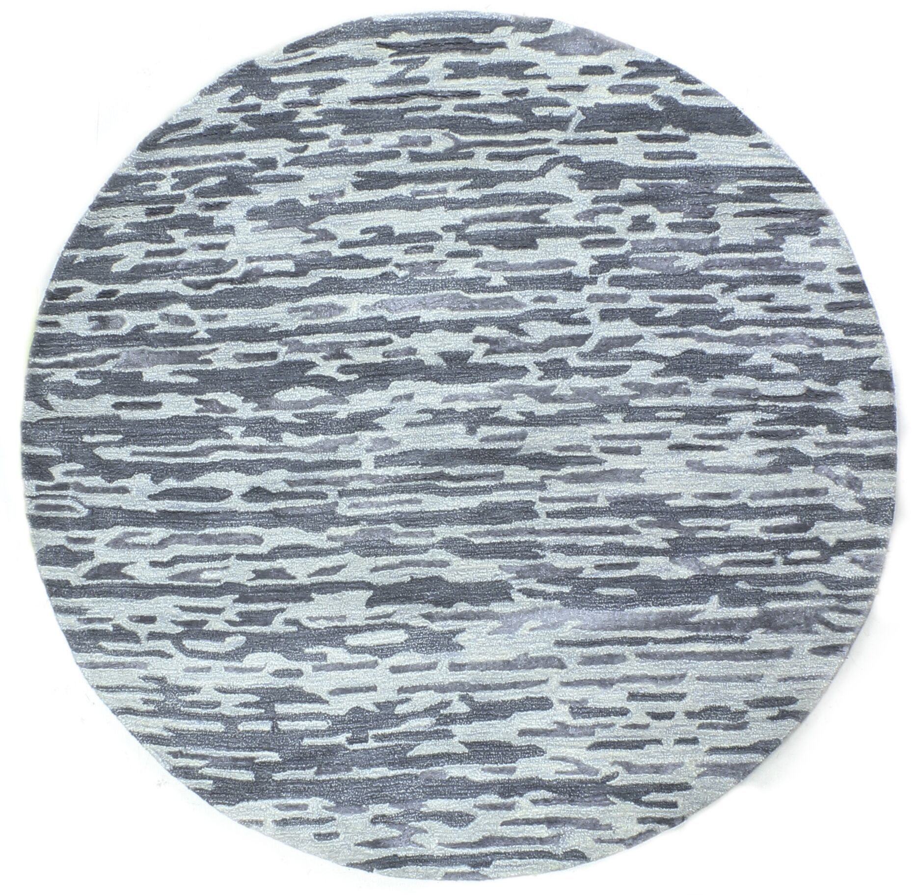Galle Hand-Tufted Blue Area Rug Rug Size: Round 6'