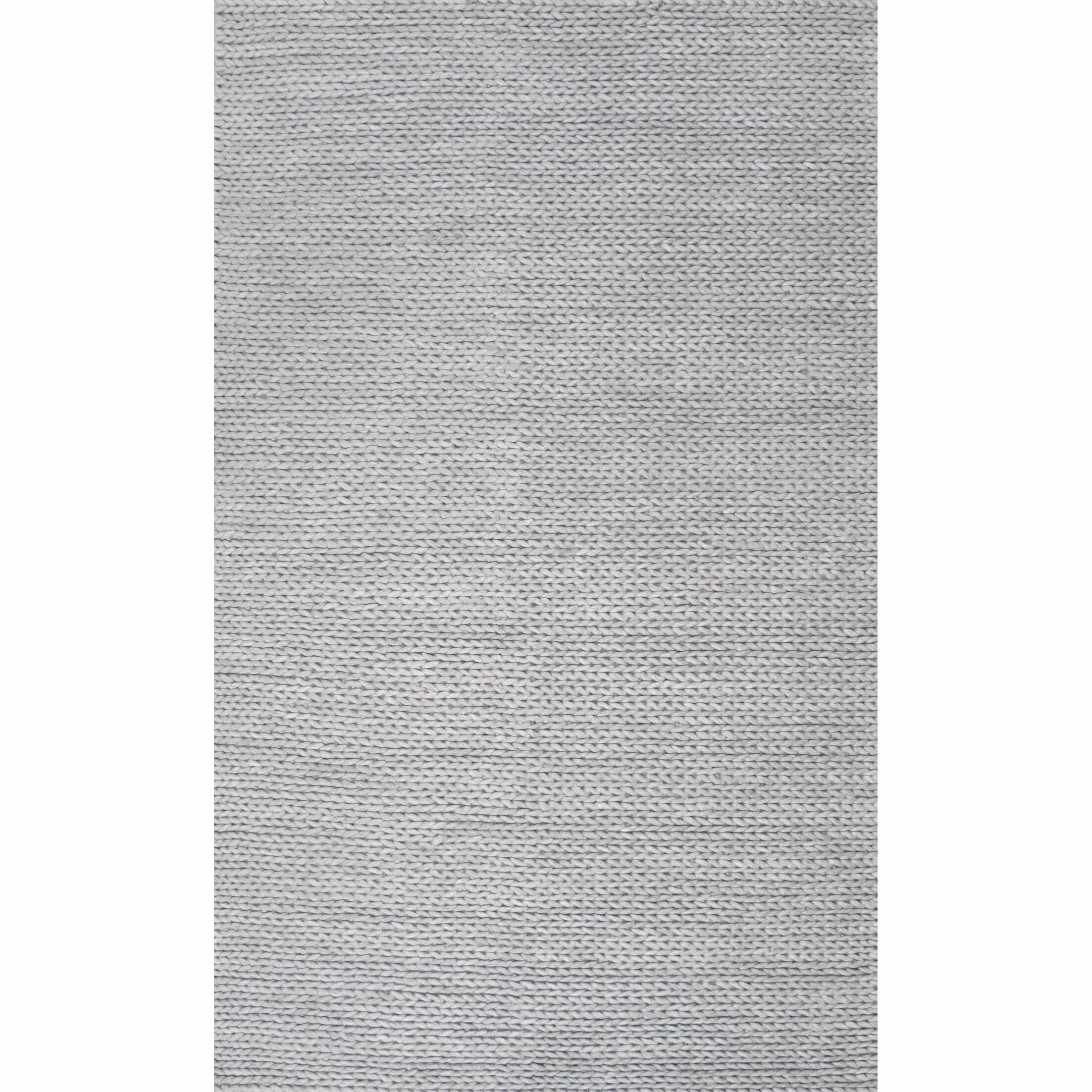 Makenzie Woolen Cable Hand-Woven Light Gray Area Rug Rug Size: Rectangle 6' x 6'