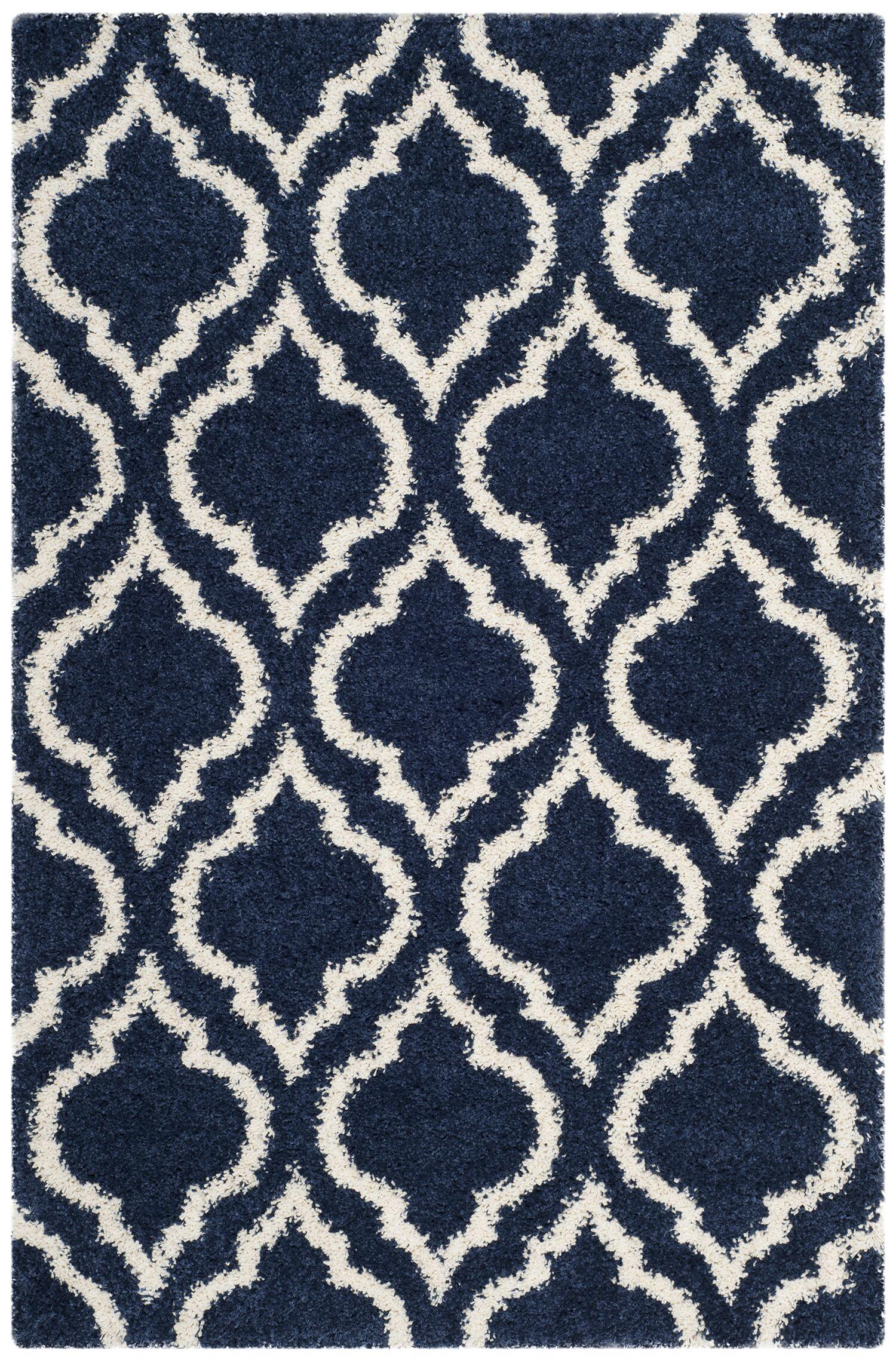 Melvin Blue/Beige Area Rug Rug Size: Rectangle 4' x 6'