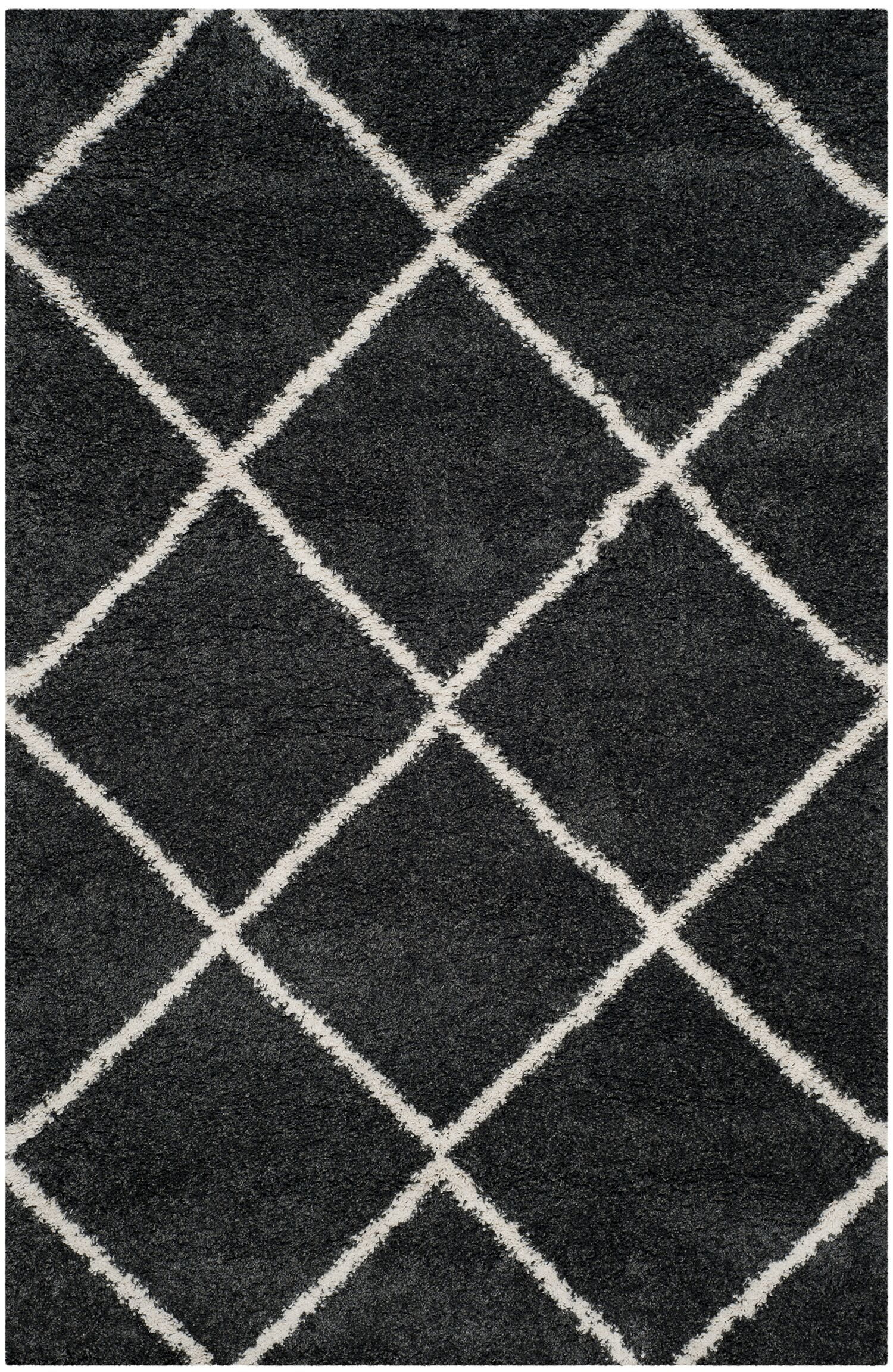 Humberto Shag Dark Grey/Ivory Area Rug Rug Size: Rectangle 5'1